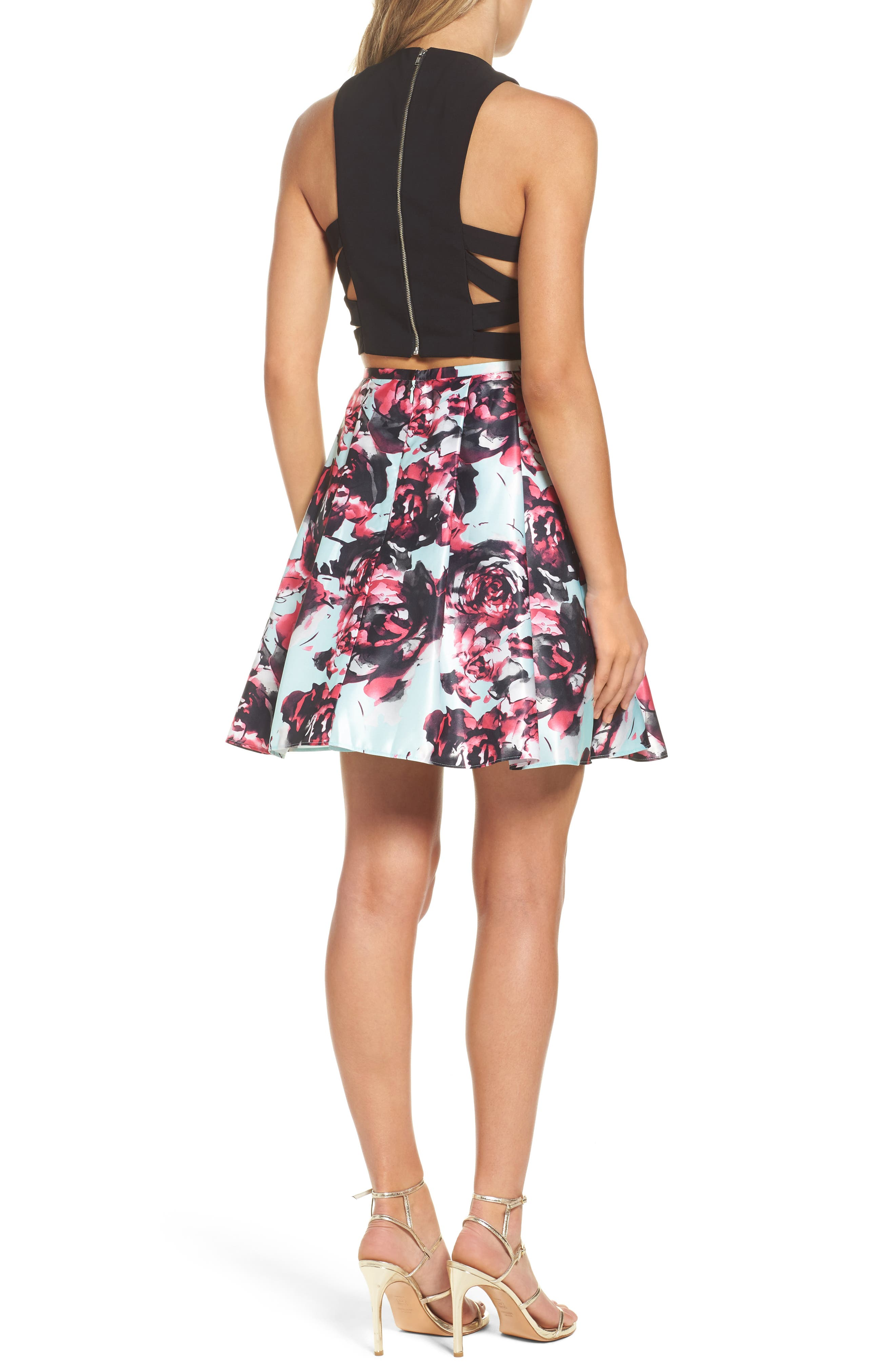 Strappy Floral Two-Piece Dress,                             Alternate thumbnail 2, color,                             007