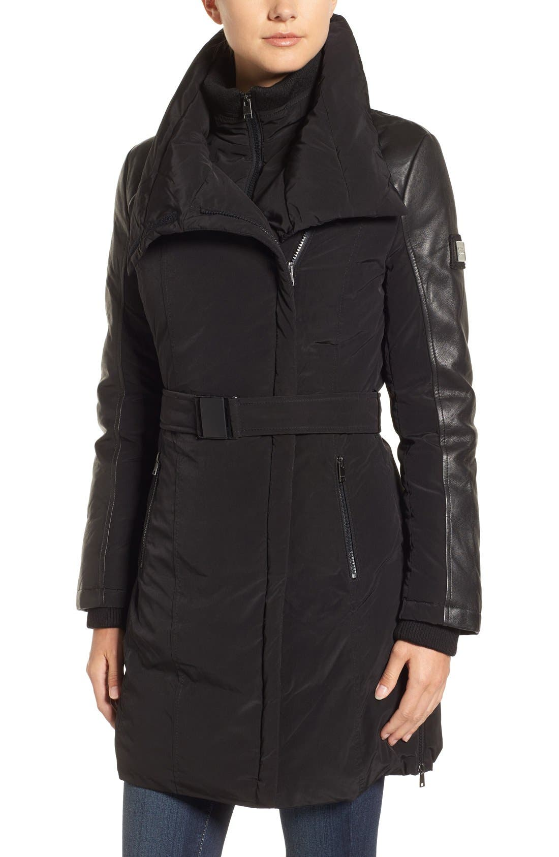Asymmetrical Hooded Down Coat with Genuine Leather Trim,                             Alternate thumbnail 4, color,                             001