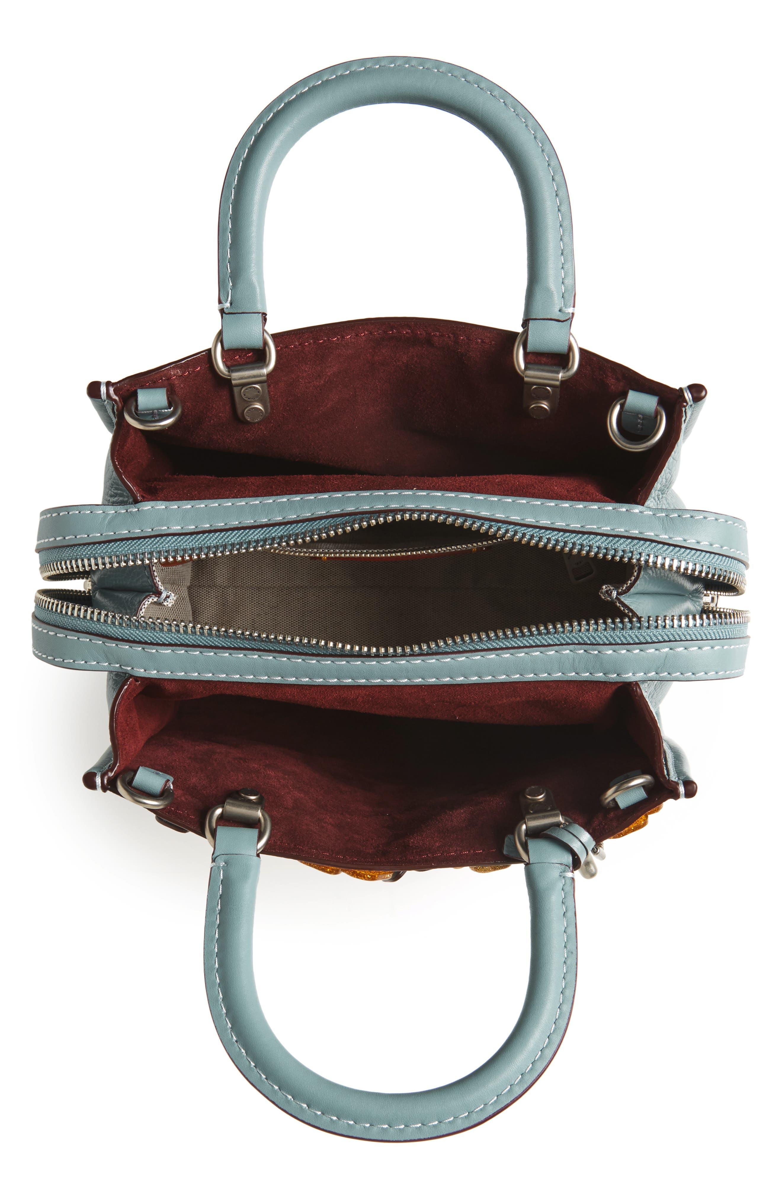 Rogue 25 Tea Rose Appliqué Leather Crossbody Bag,                             Alternate thumbnail 4, color,