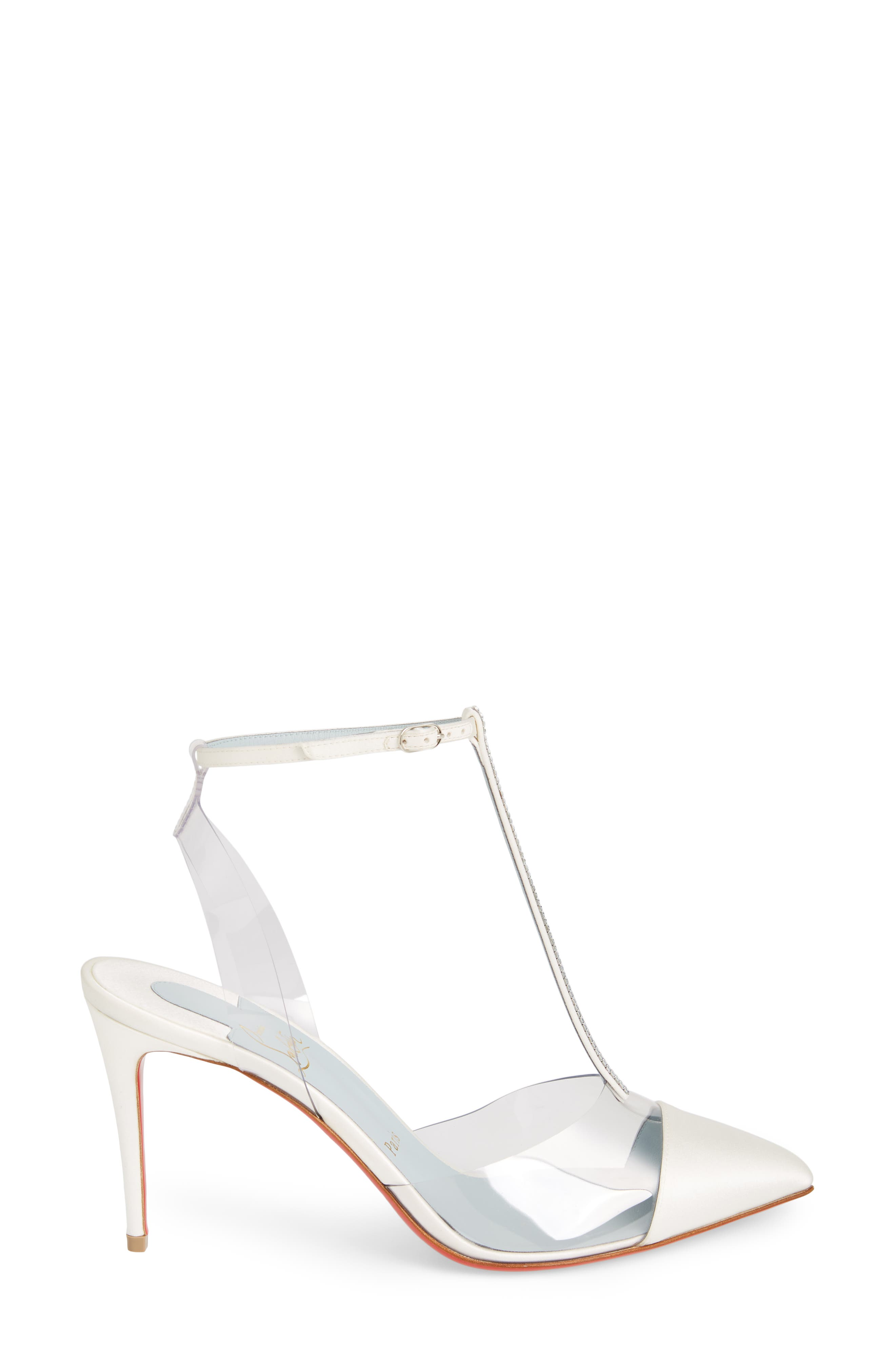 CHRISTIAN LOUBOUTIN,                             Nosy Jewel Clear Pump,                             Alternate thumbnail 3, color,                             OFF WHITE