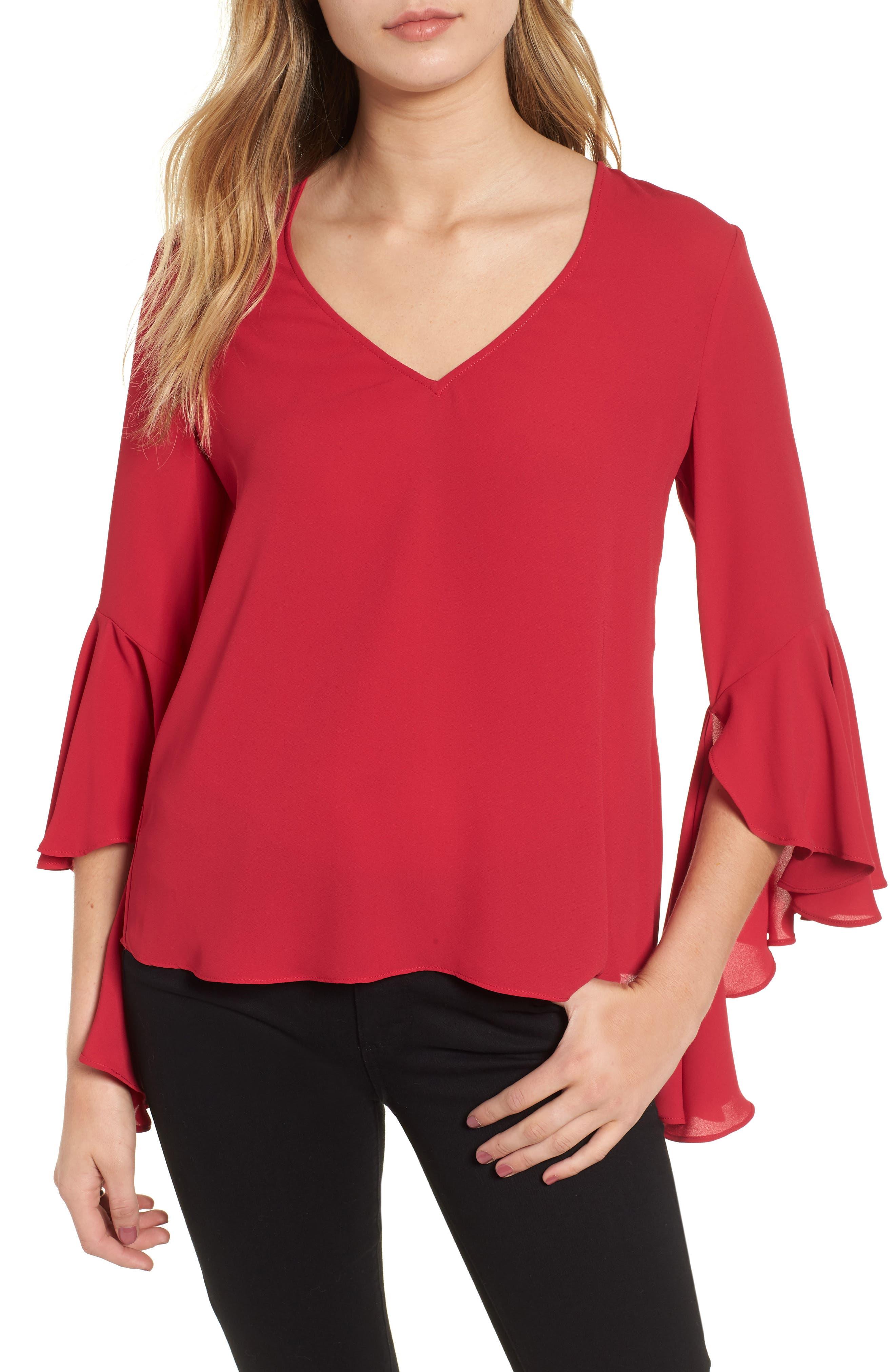 BAILEY44 Tatyana Bell-Sleeve Georgette Top in Rich Red
