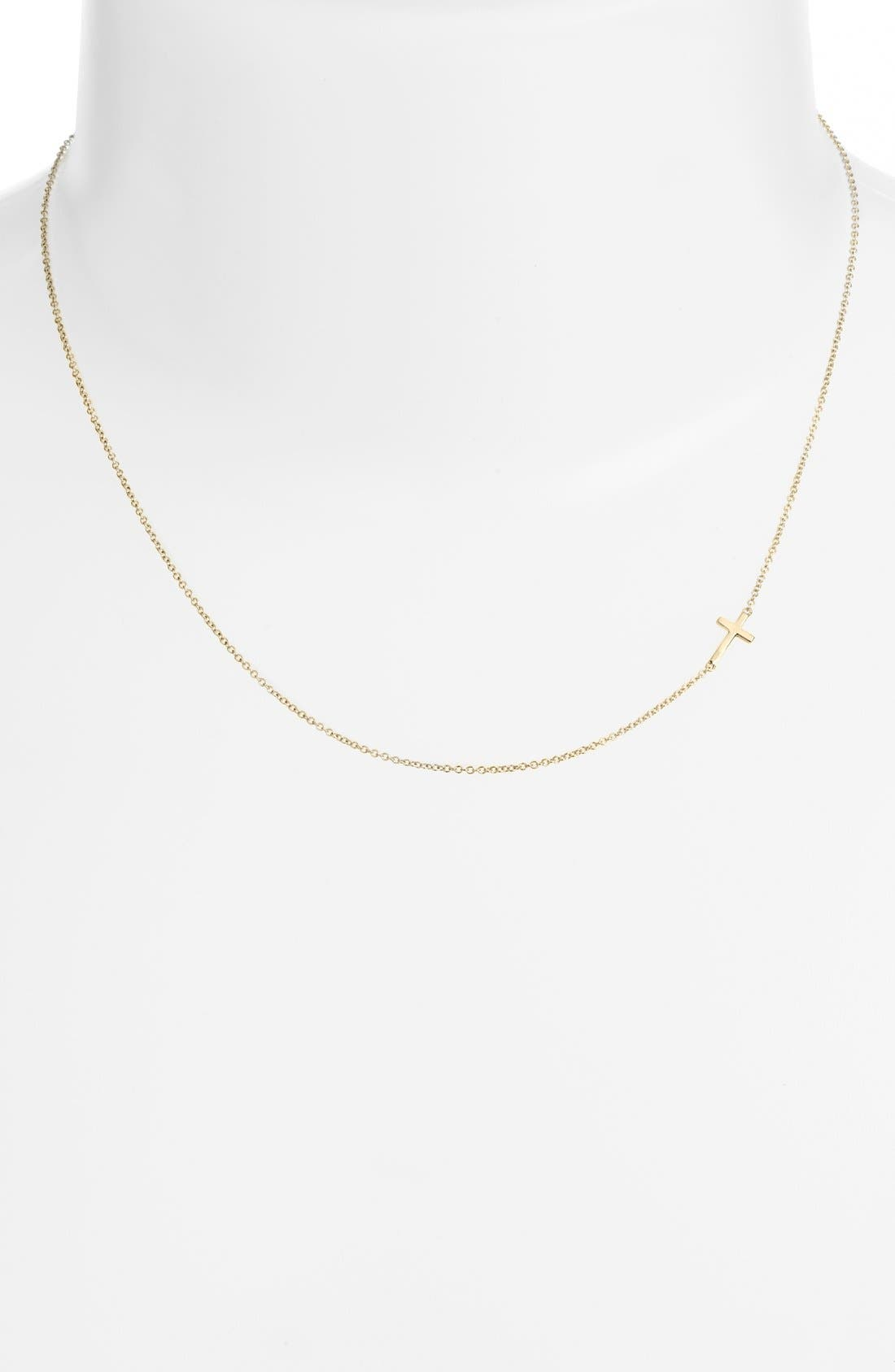 Cross Station Necklace,                             Alternate thumbnail 3, color,                             YELLOW GOLD