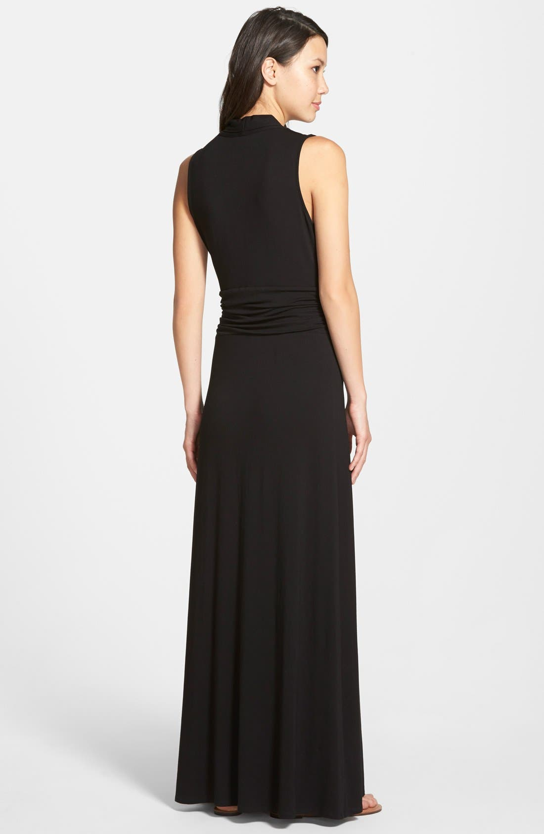 V-Neck Maxi Dress,                             Alternate thumbnail 9, color,                             RICH BLACK