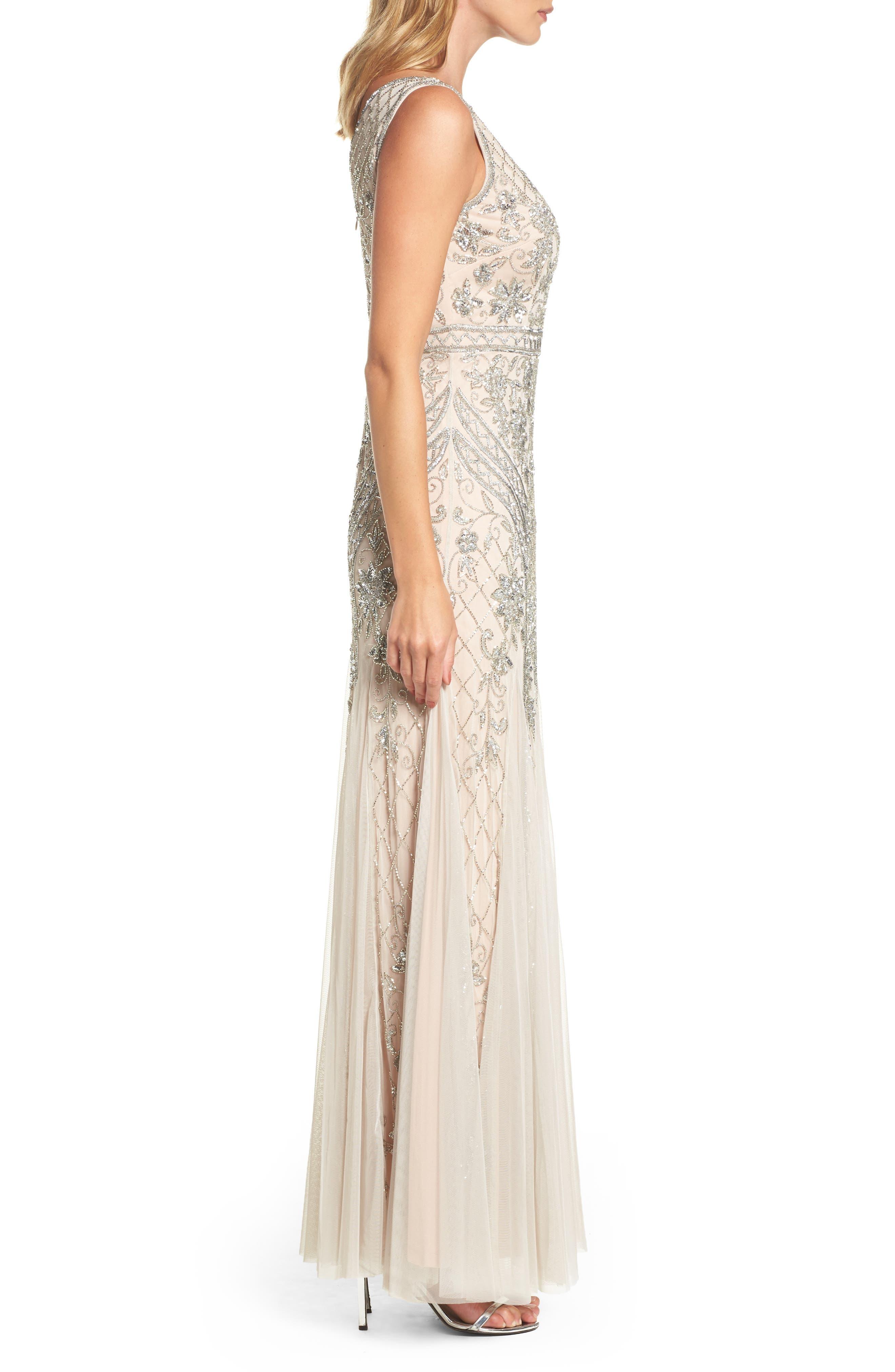 Beaded Double V-Neck Gown,                             Alternate thumbnail 3, color,                             040