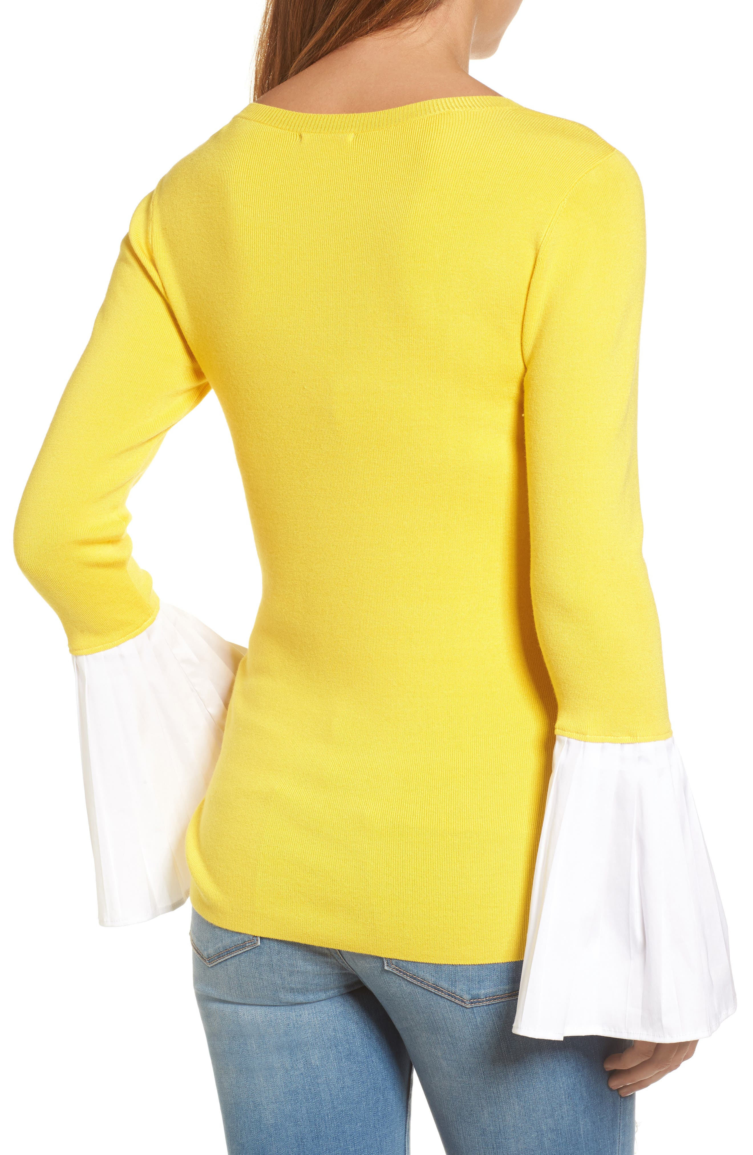 Poplin Bell Cuff Sweater,                             Alternate thumbnail 8, color,