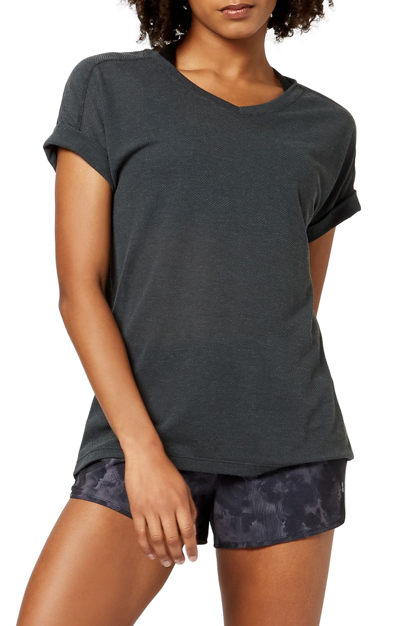Ab Crunch Tee,                         Main,                         color, CHARCOAL MARL
