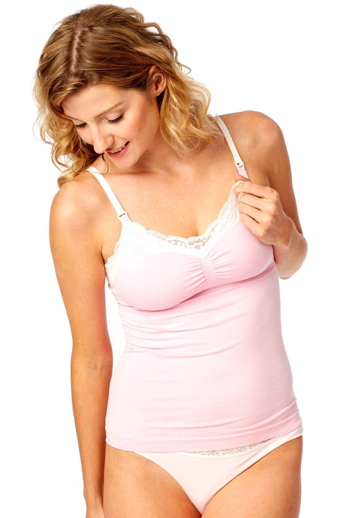 Seamless Lace Trim Nursing Maternity Camisole,                             Alternate thumbnail 2, color,                             BLUSH HEATHER