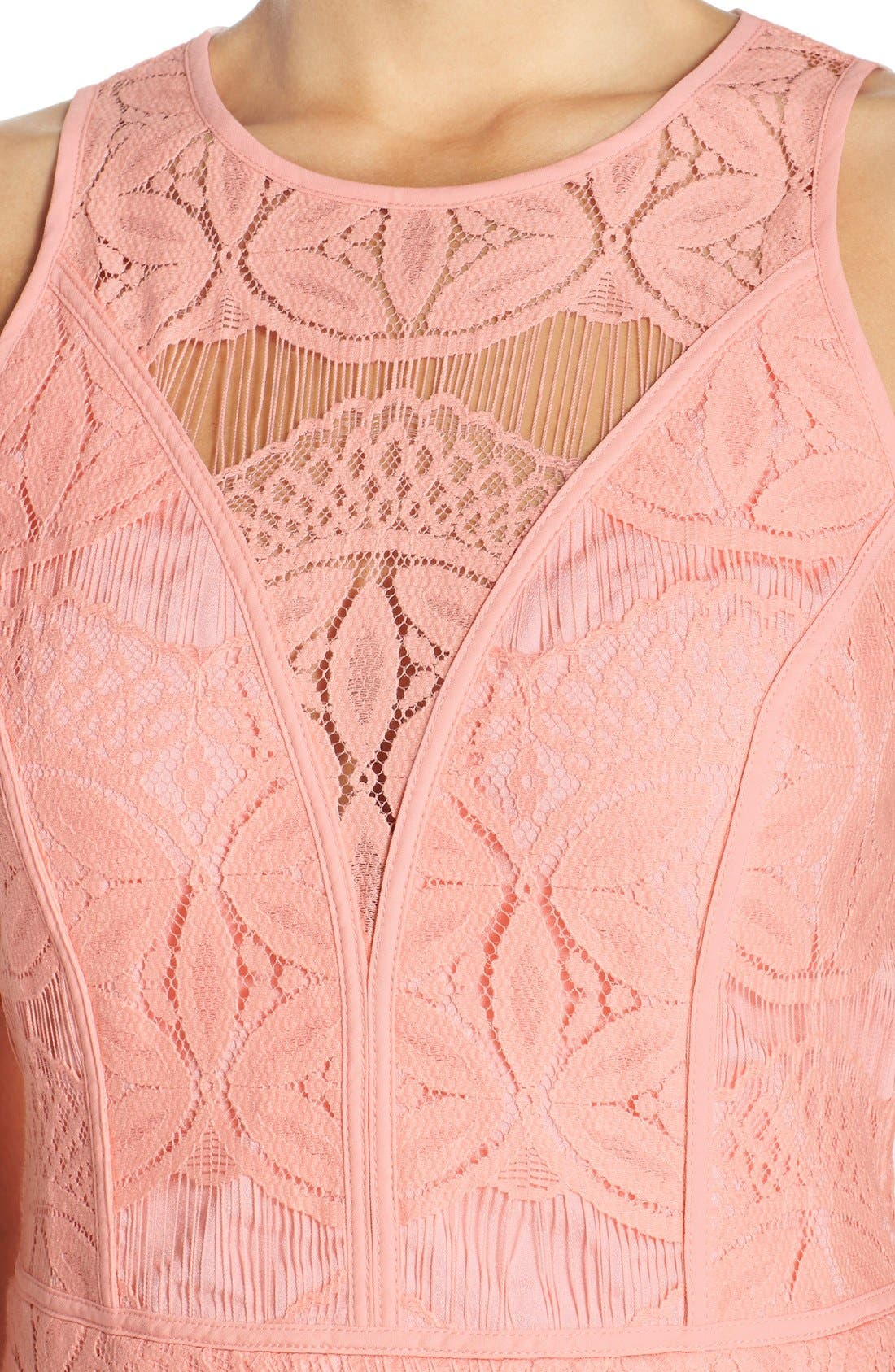 Lace High/Low Sheath Dress,                             Alternate thumbnail 18, color,