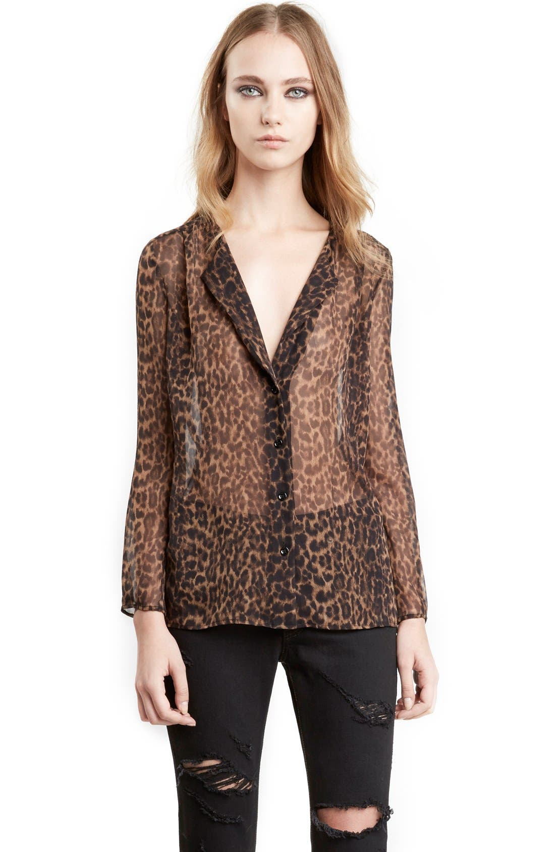 Leopard Print Collarless Silk Georgette Shirt,                             Alternate thumbnail 4, color,