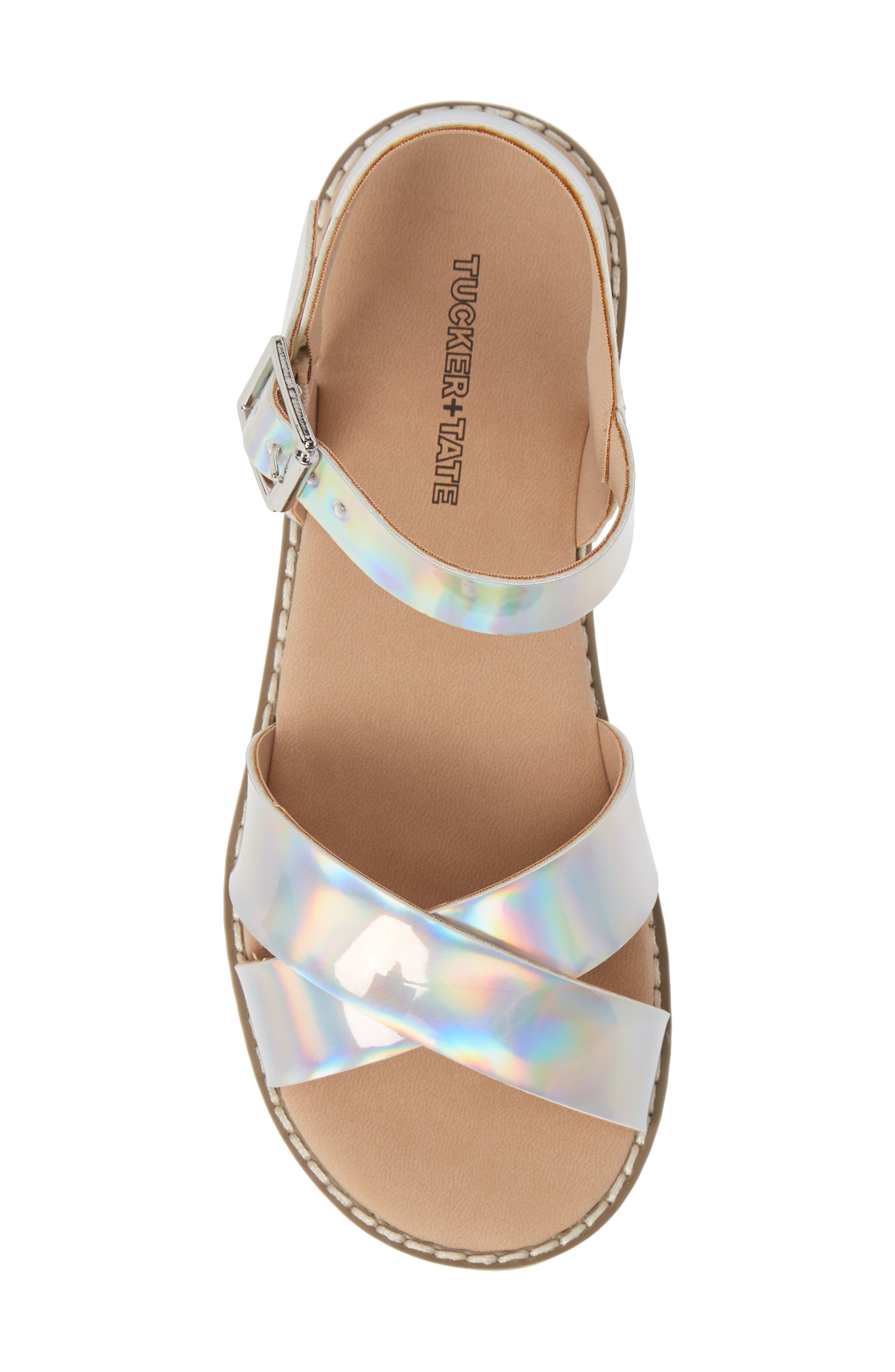 Arya Cross Strap Sandal,                             Alternate thumbnail 5, color,                             SILVER HOLOGRAM FAUX LEATHER