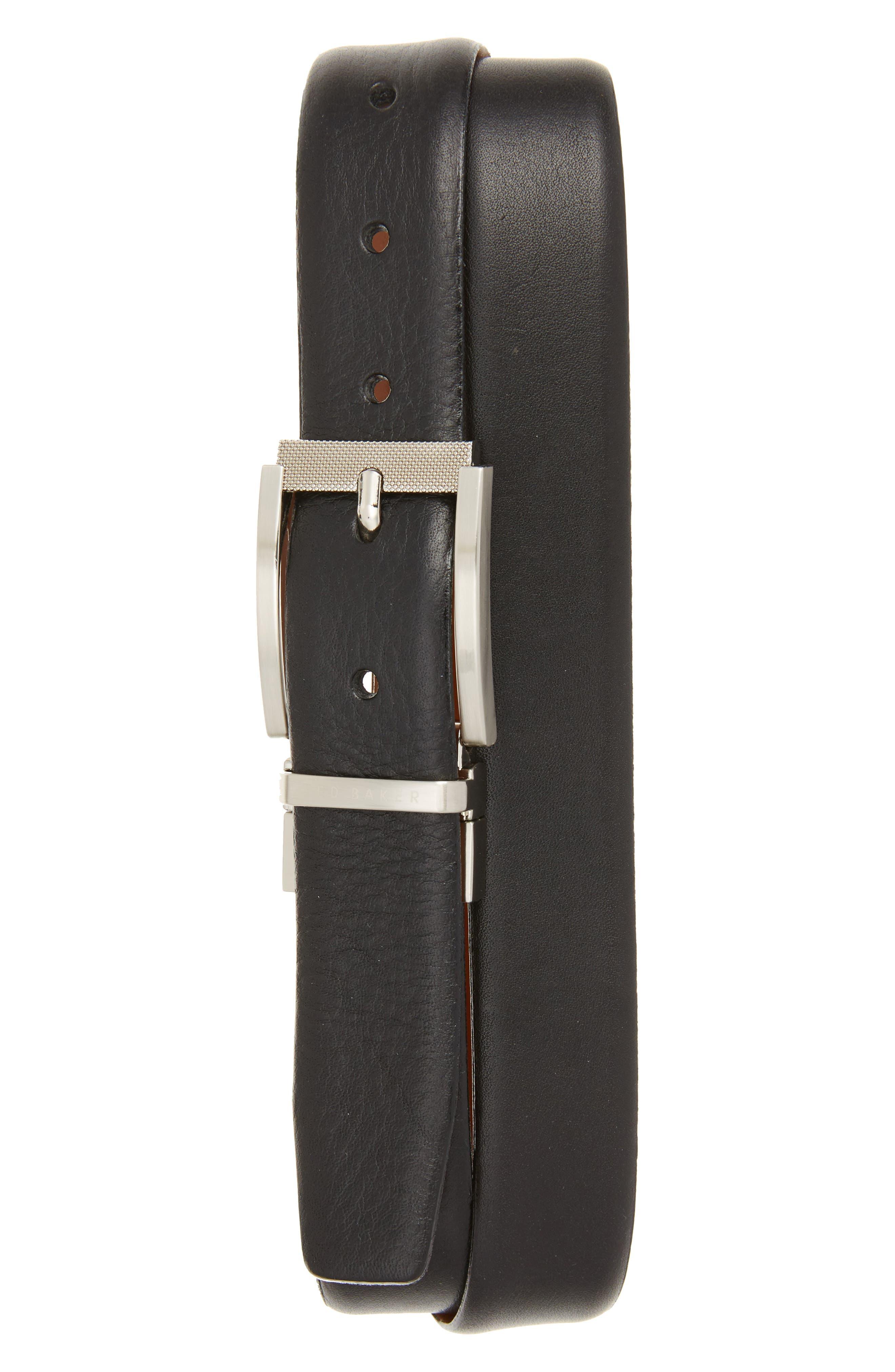 Reva Reversible Leather Belt,                             Main thumbnail 1, color,                             BLACK
