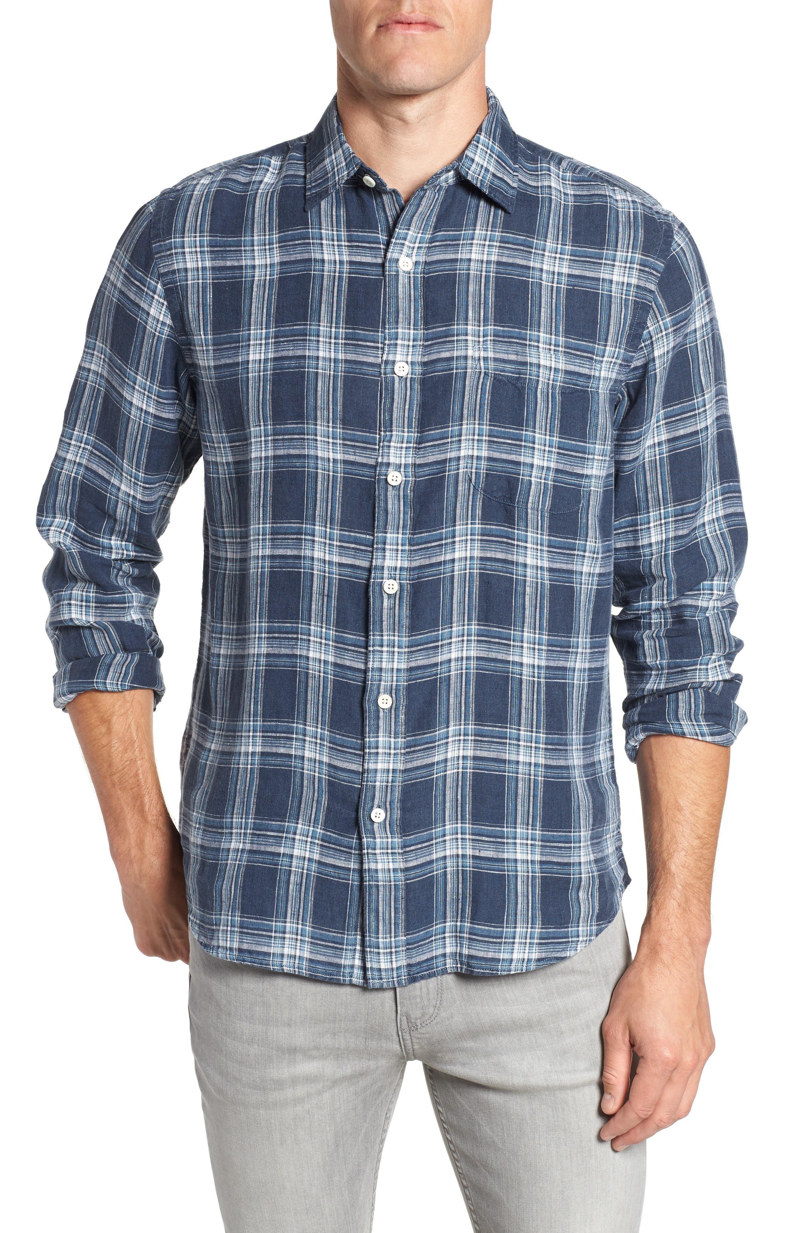 Ventura Check Linen Sport Shirt,                         Main,                         color, 400