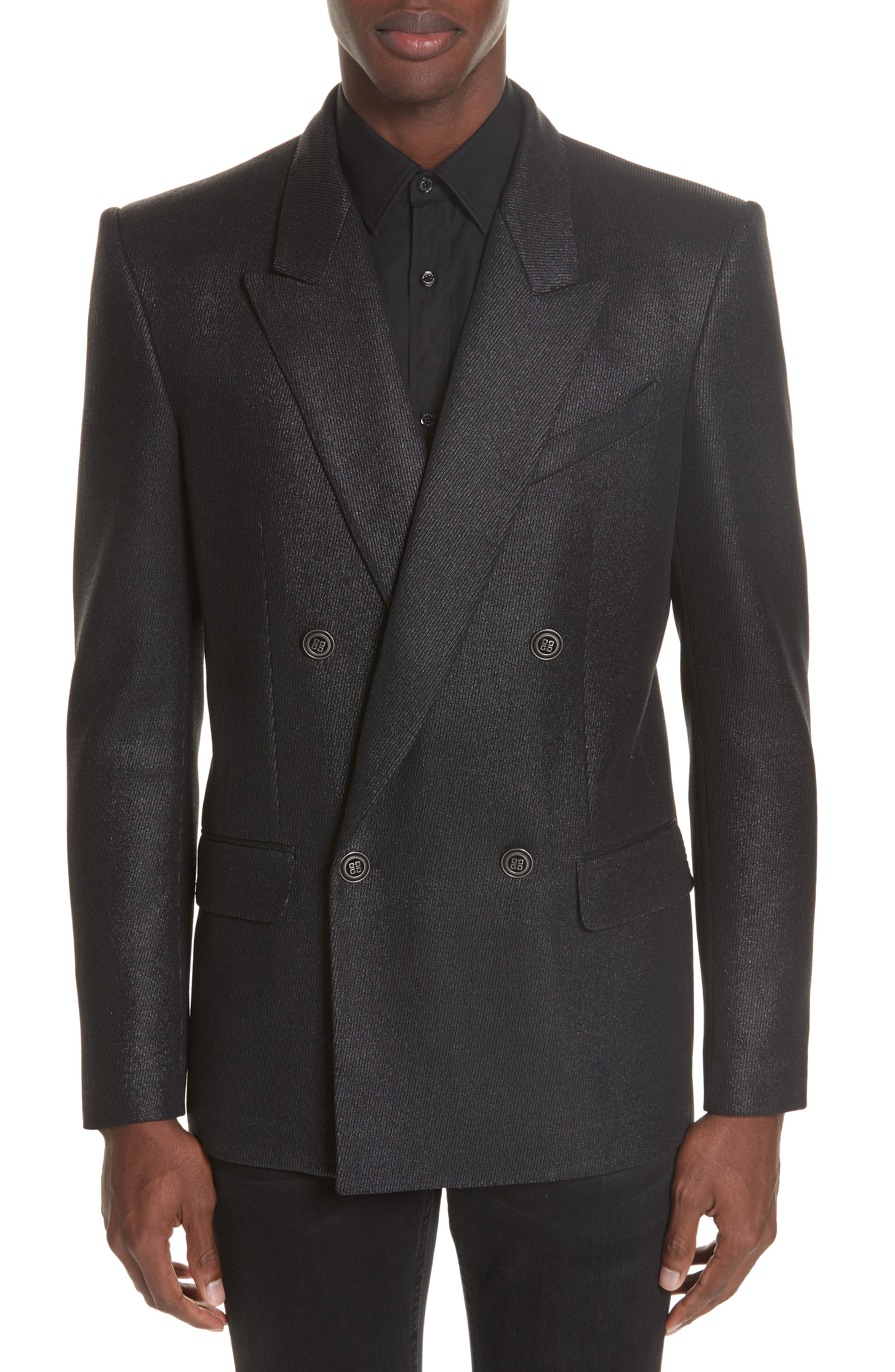 Double Breasted Wool Blazer,                         Main,                         color, 001