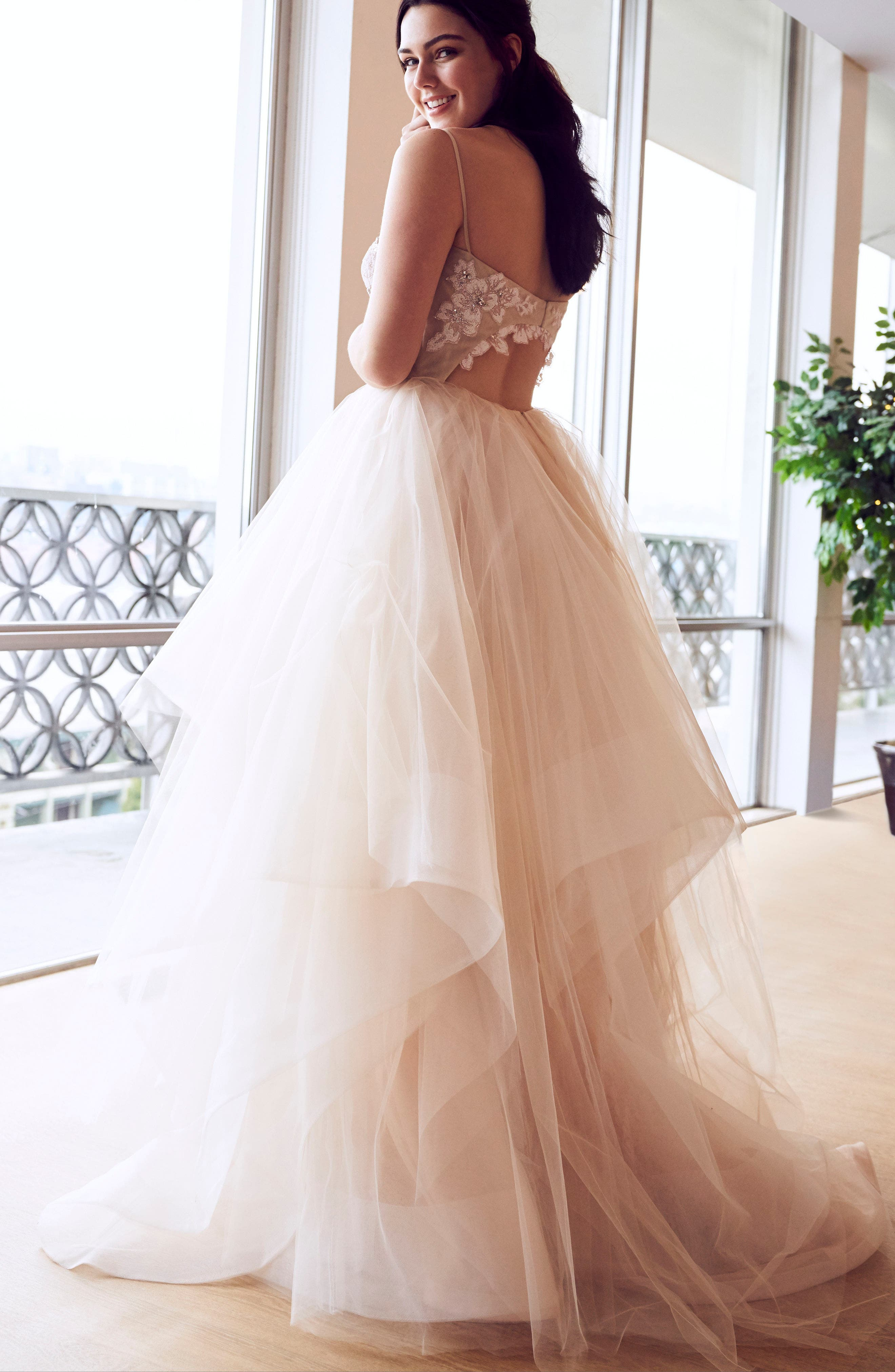 Keagan Embellished Tulle Ballgown,                             Alternate thumbnail 4, color,                             SWEET HONEY BEE