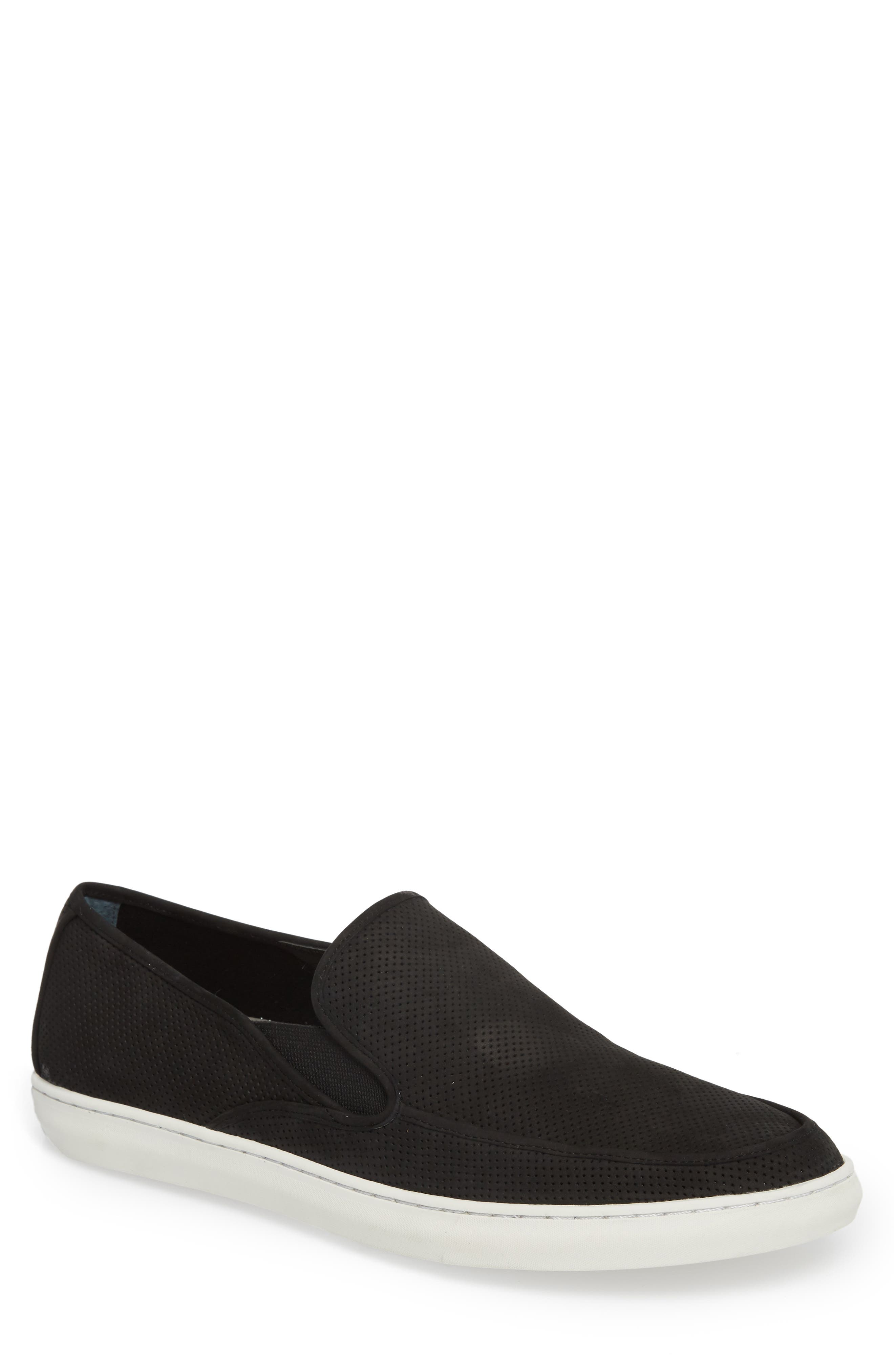 'Venice' Perforated Suede Slip-On,                         Main,                         color, BLACK NUBUCK