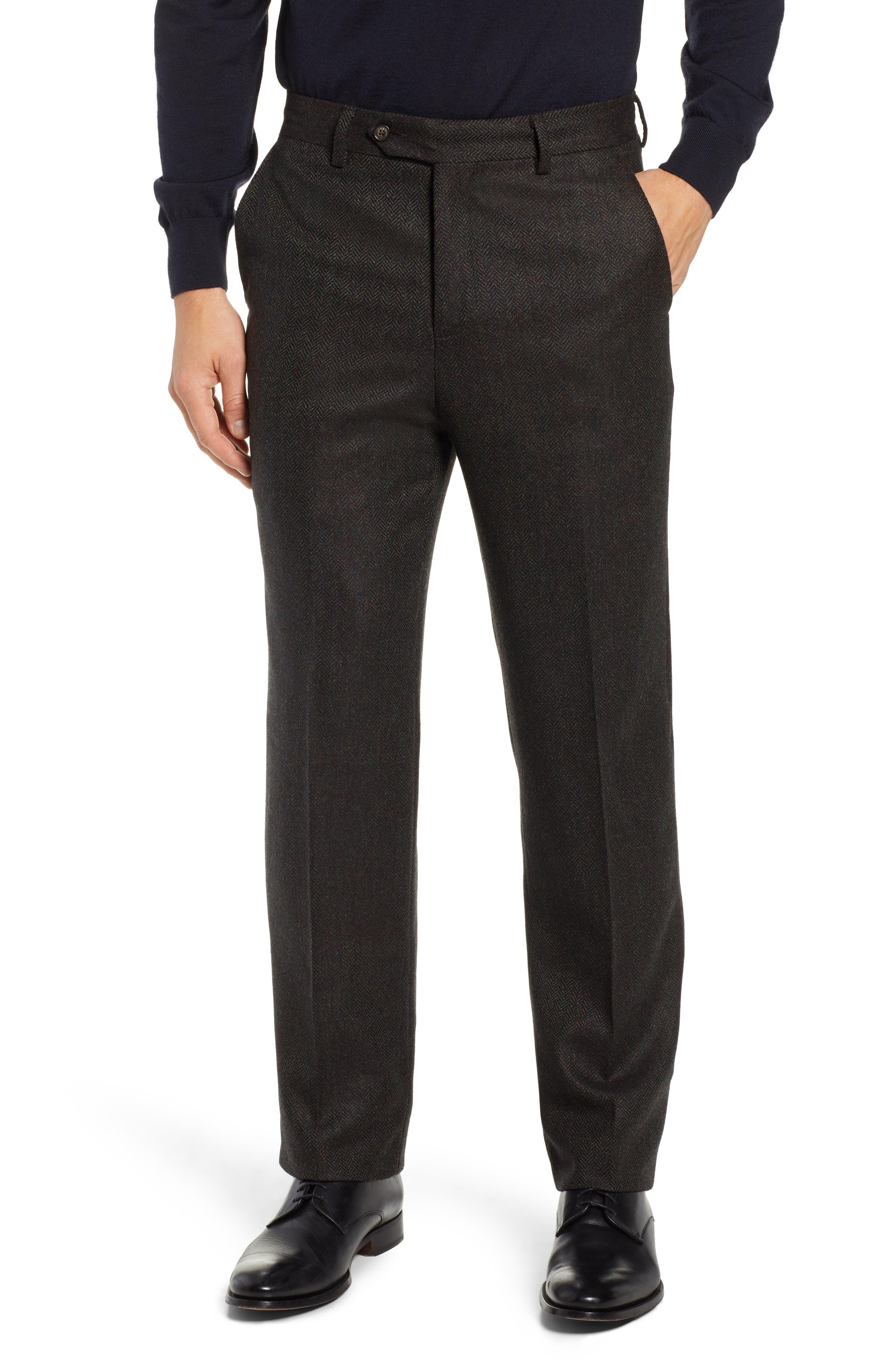 Flat Front Herringbone Wool & Cashmere Trousers,                         Main,                         color, DARK OLIVE