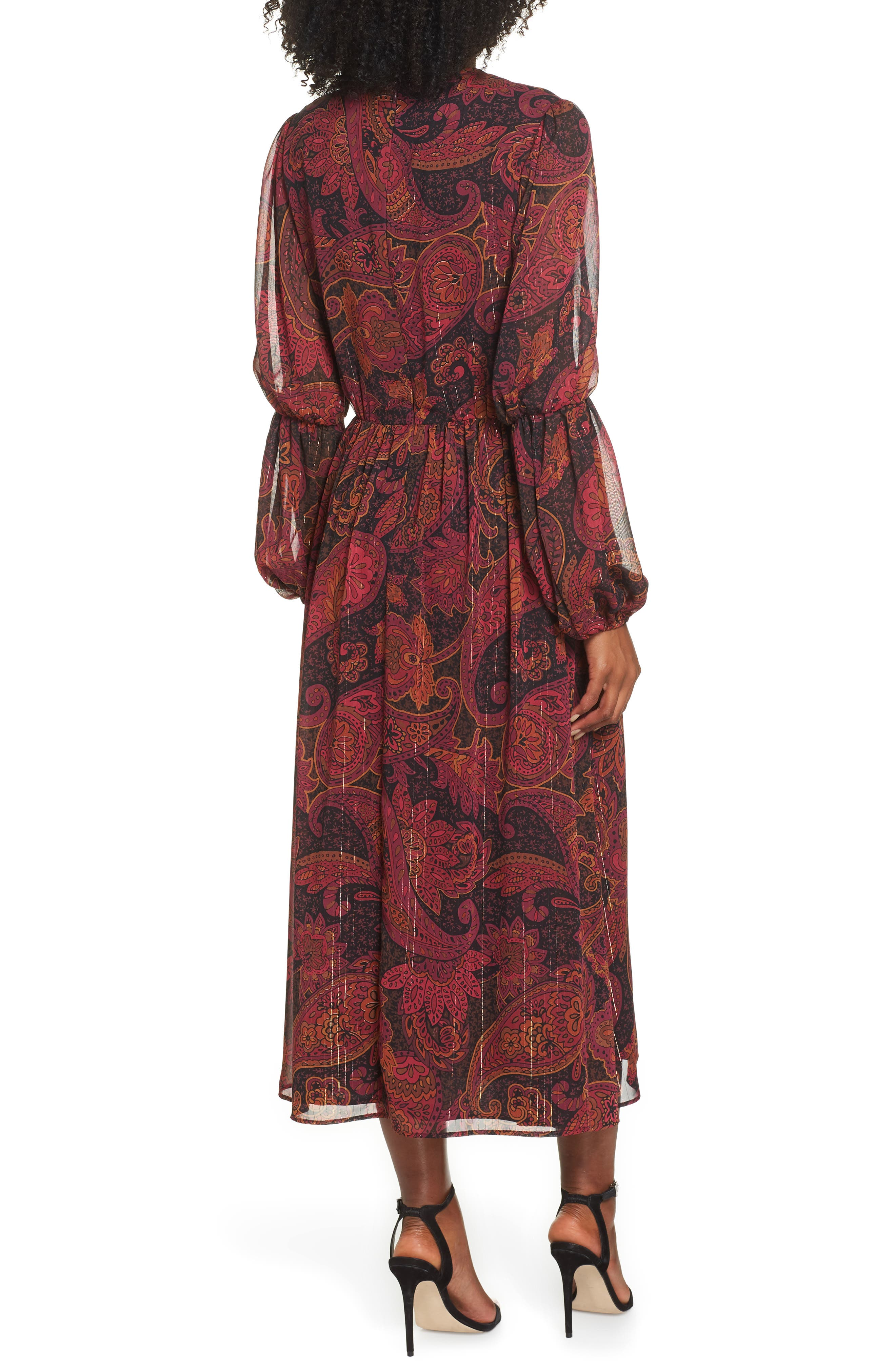 Double Puff Sleeve Midi Dress,                             Alternate thumbnail 2, color,                             BLACK / CABERNET