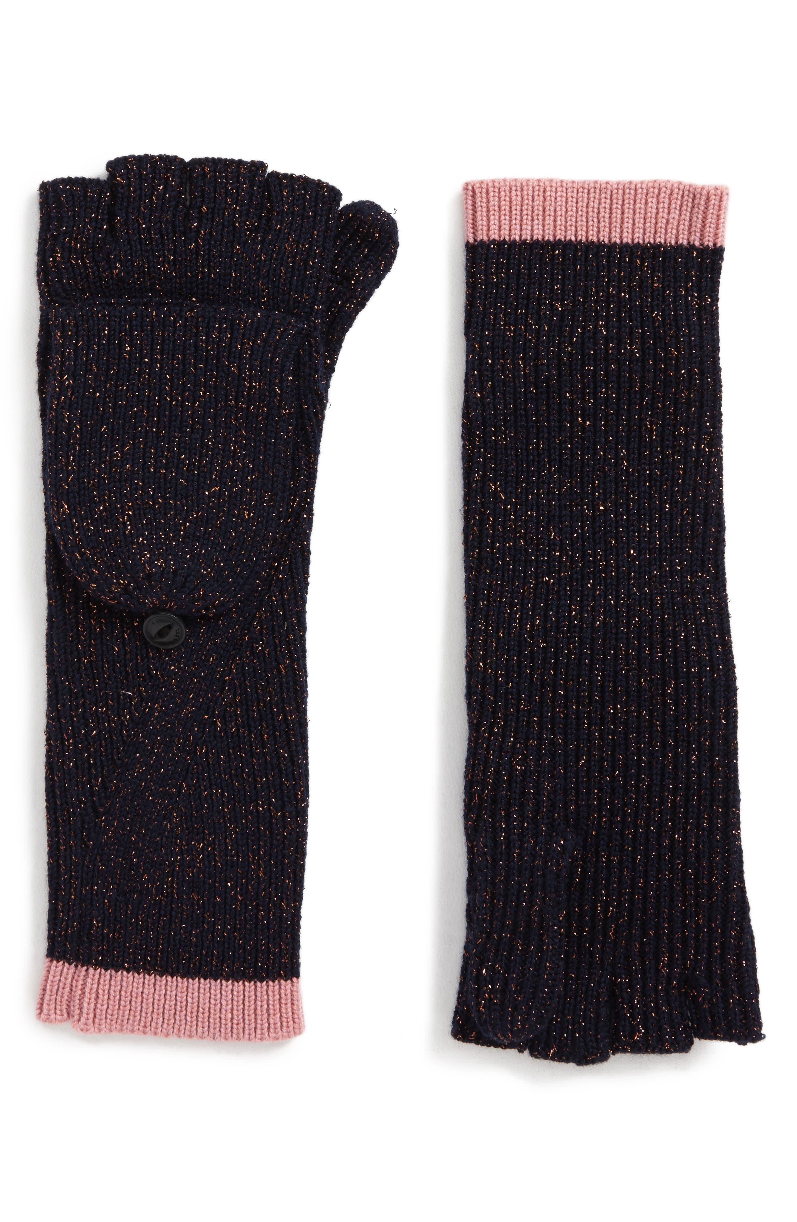 Jubilee Shimmer Fingerless Merino Wool Blend Gloves,                             Main thumbnail 1, color,
