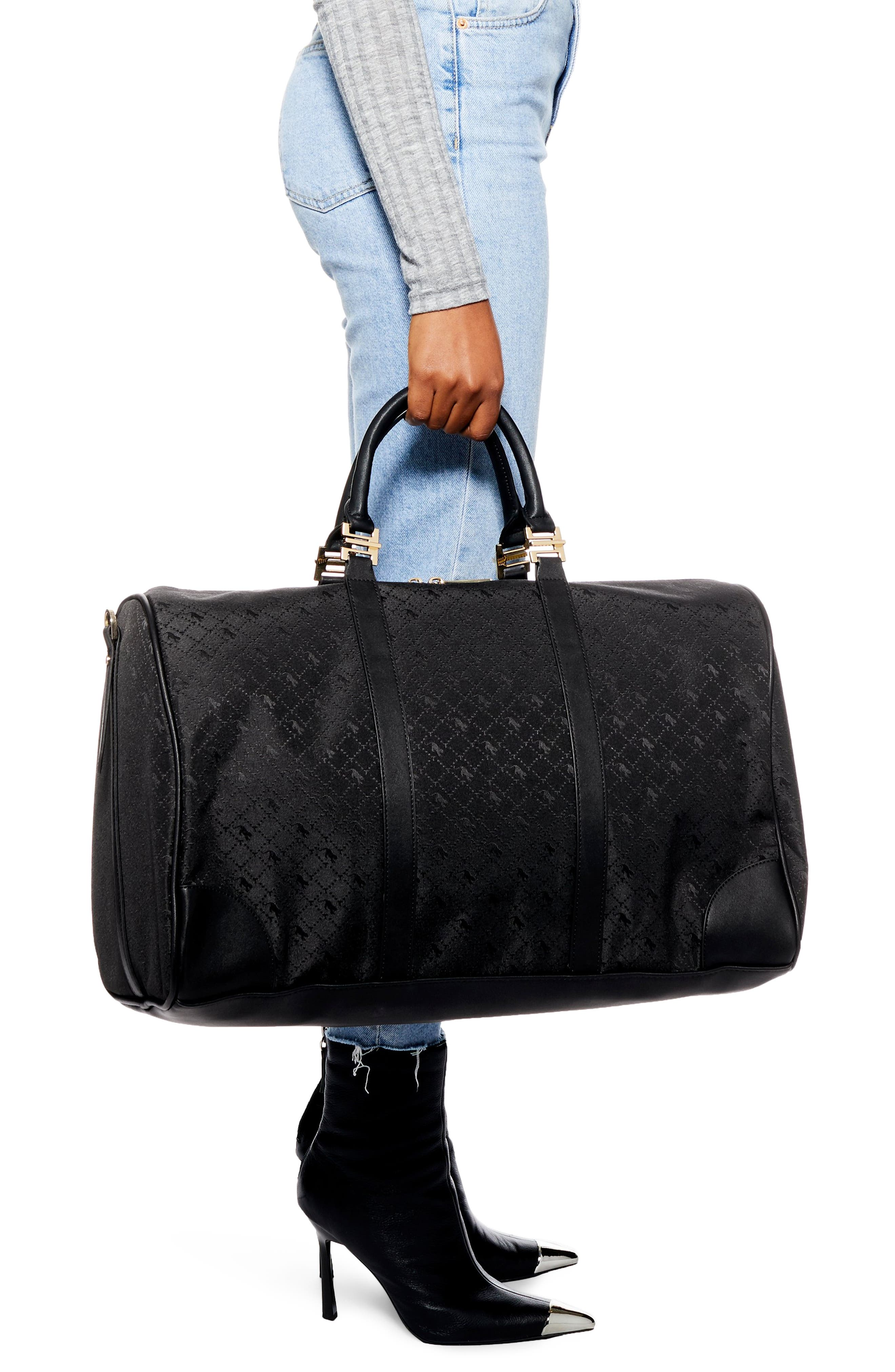 TOPSHOP,                             Large Madrid Duffel Bag,                             Alternate thumbnail 3, color,                             BLACK