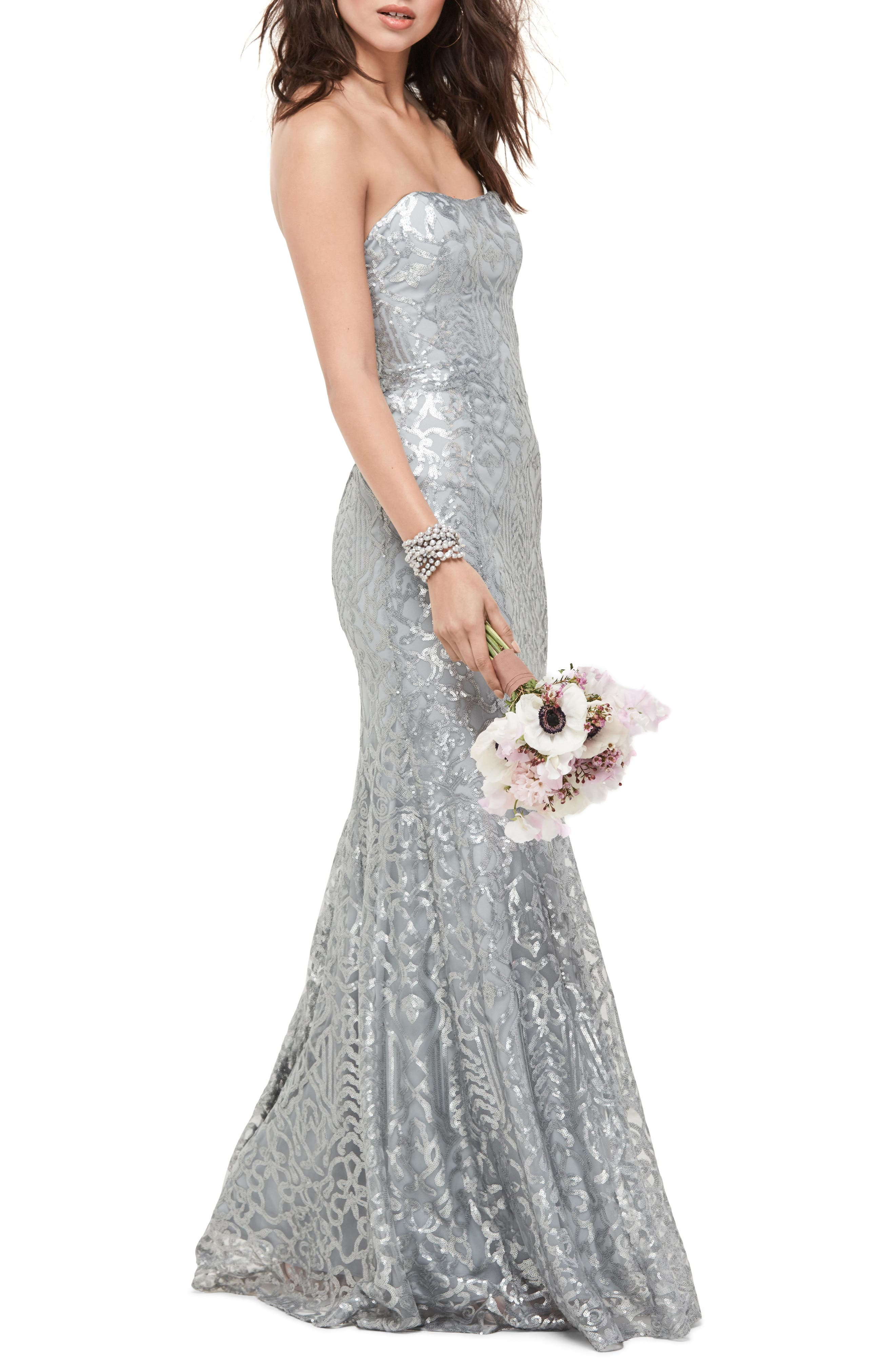 Talisa Sequin Mesh Strapless Gown,                             Main thumbnail 1, color,                             030