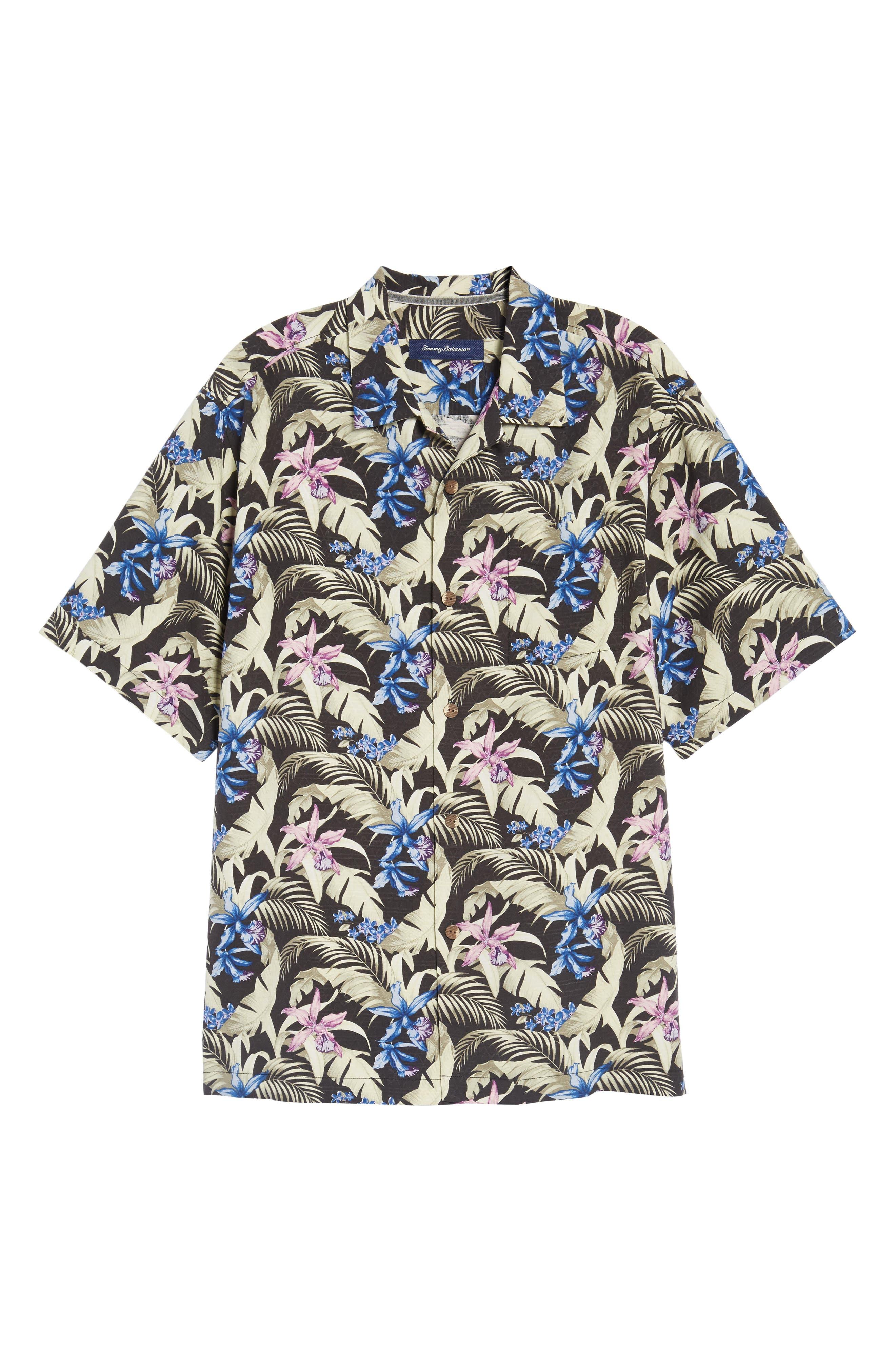 Menara Garden Standard Fit Silk Camp Shirt,                             Alternate thumbnail 6, color,                             001
