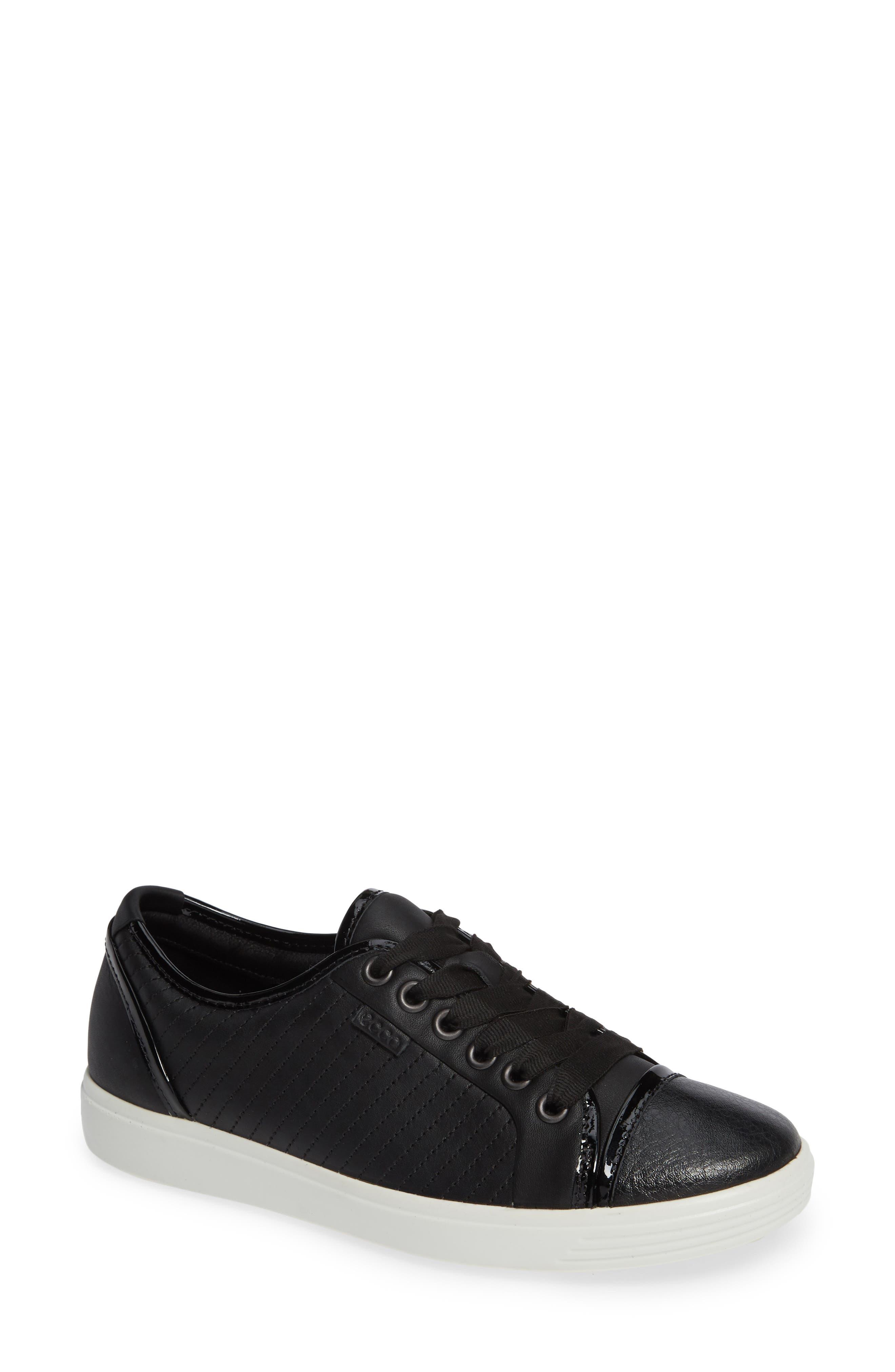 Soft 7 Cap Toe Sneaker,                             Main thumbnail 1, color,                             BLACK LEATHER