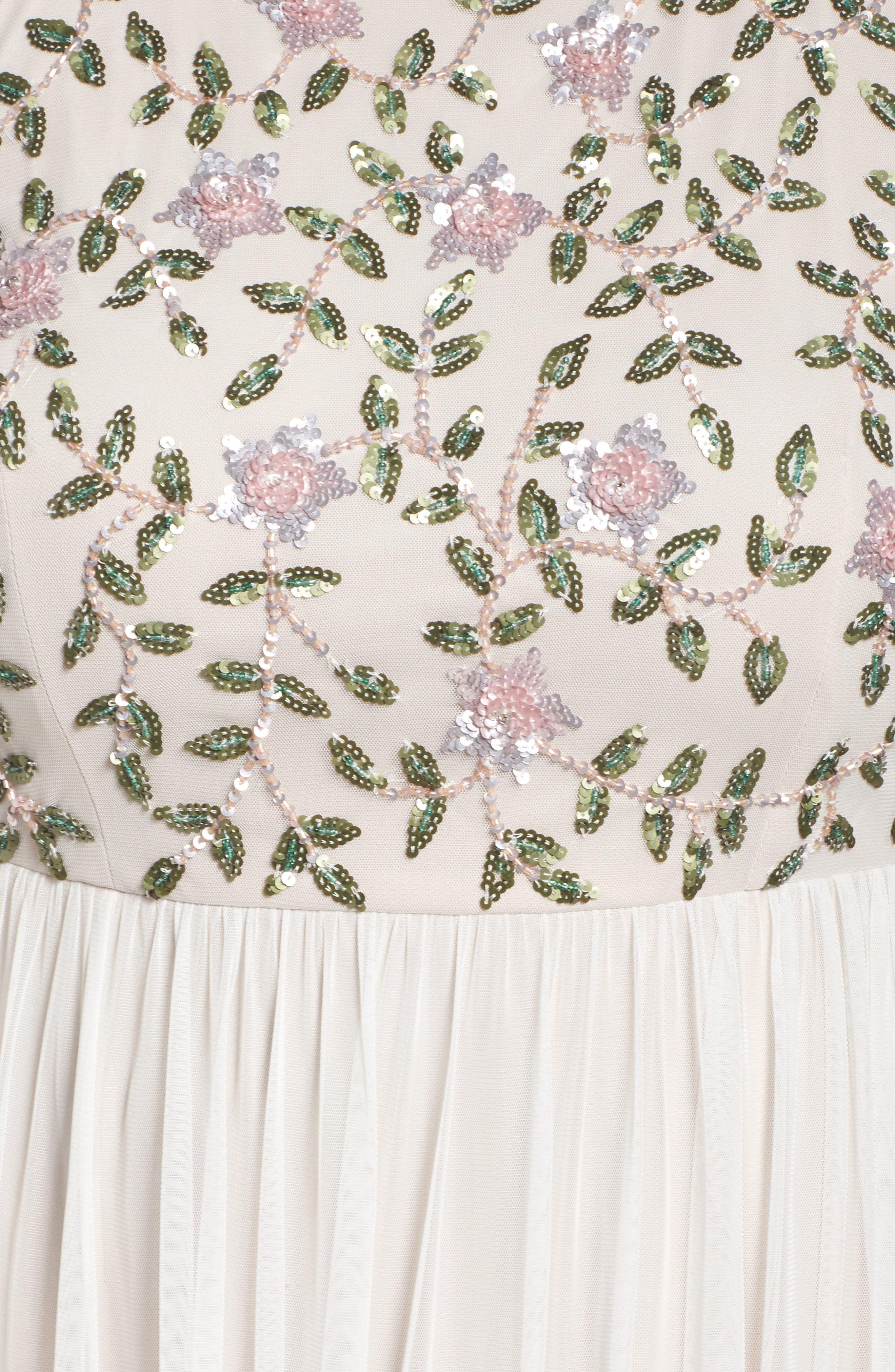 Floral Sequin Bodice Gown,                             Alternate thumbnail 5, color,                             900