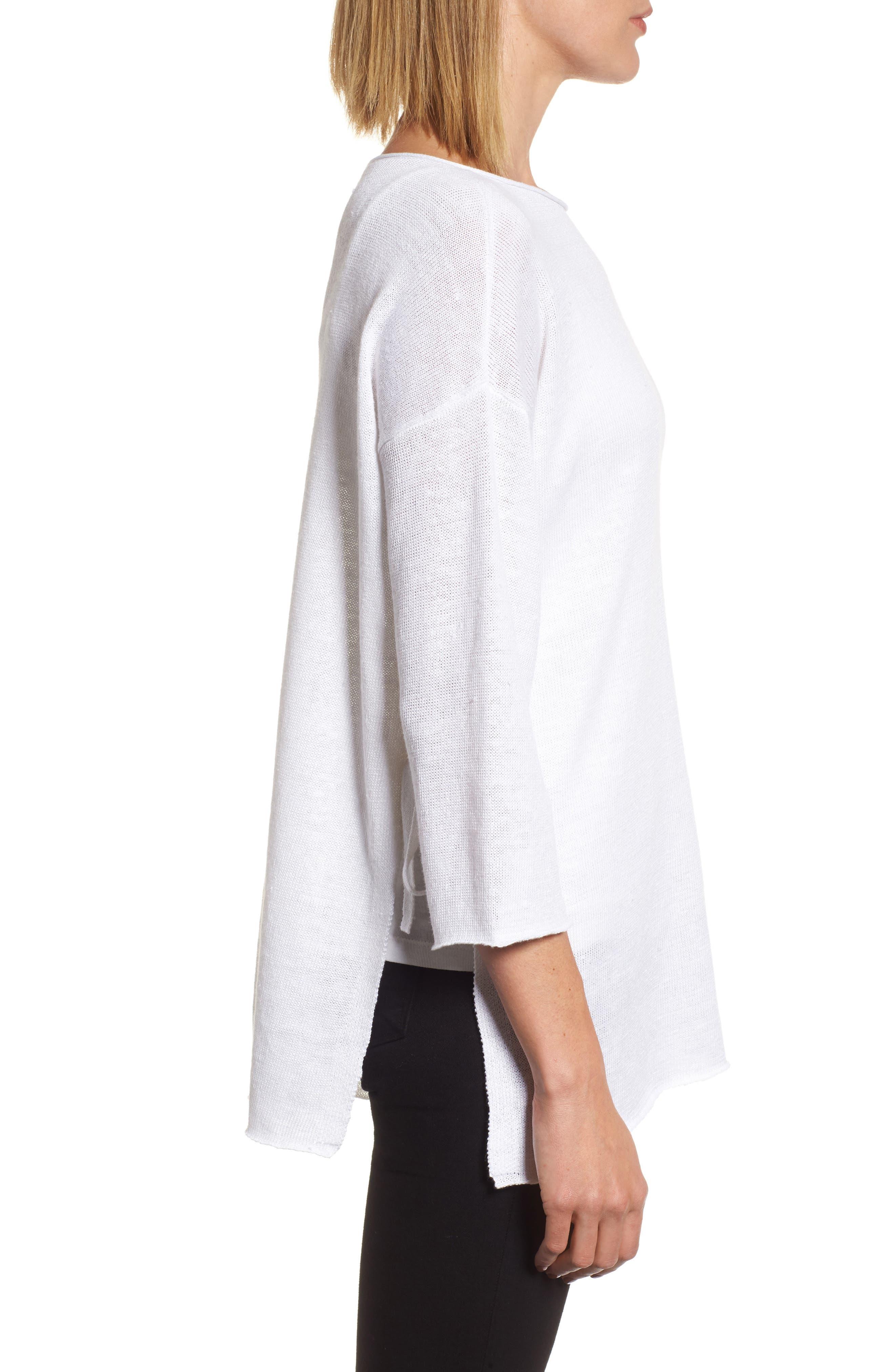 Side Tie Organic Linen Sweater,                             Alternate thumbnail 3, color,                             100