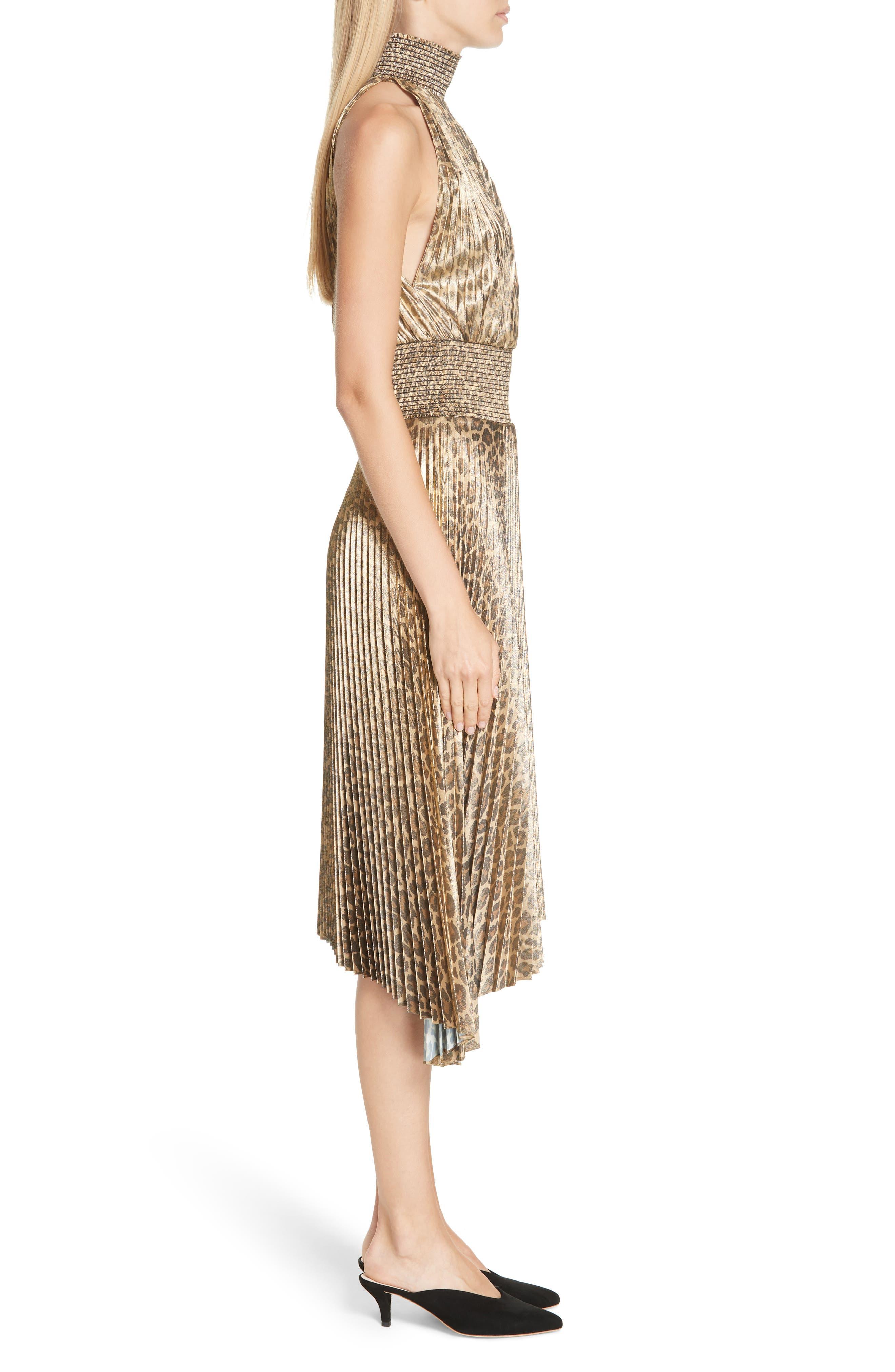 Renzo Leopard Print Metallic Foil Dress,                             Alternate thumbnail 3, color,                             METALLIC GOLD