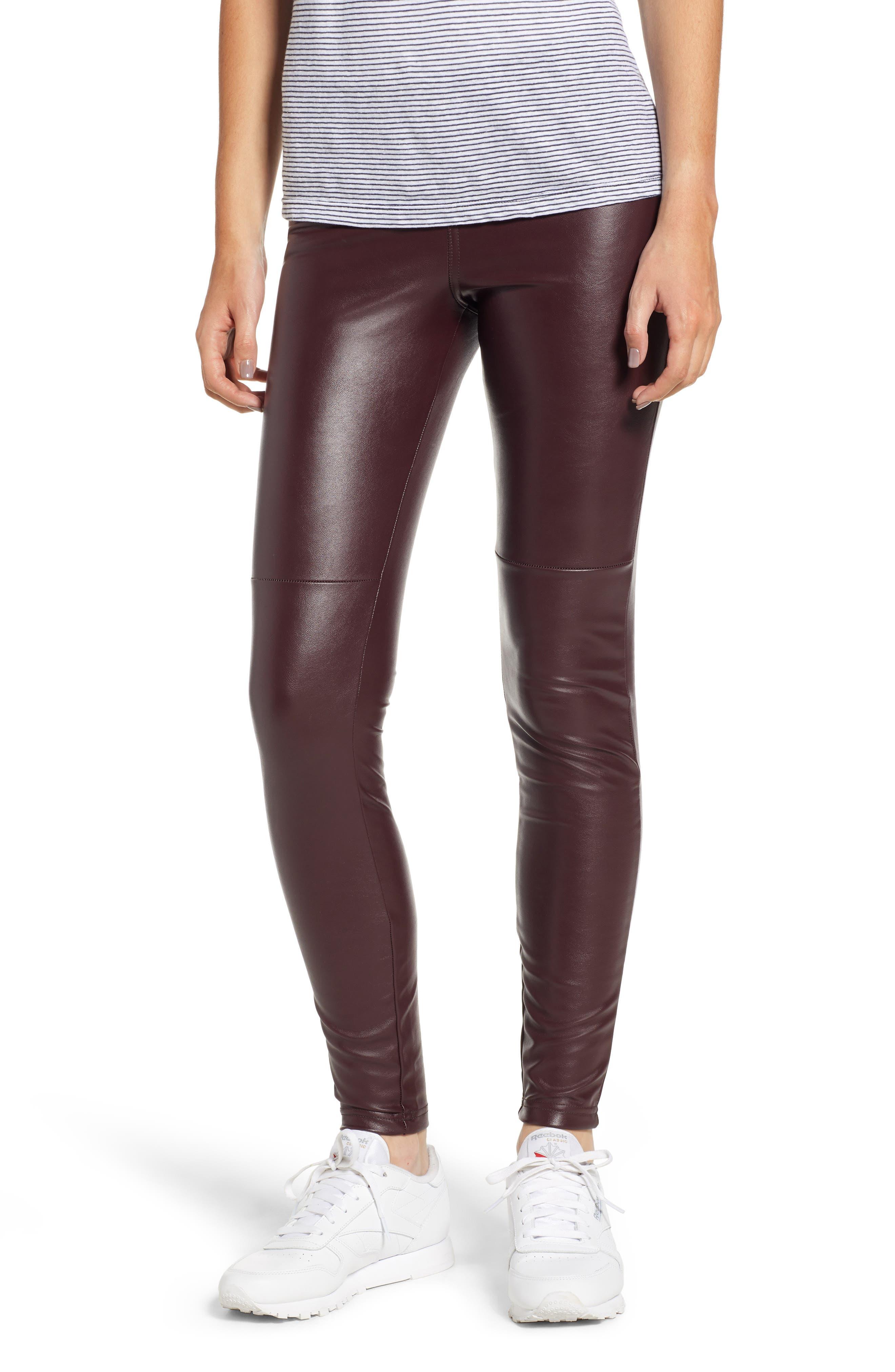 Hue Faux Leather Leggings, Brown