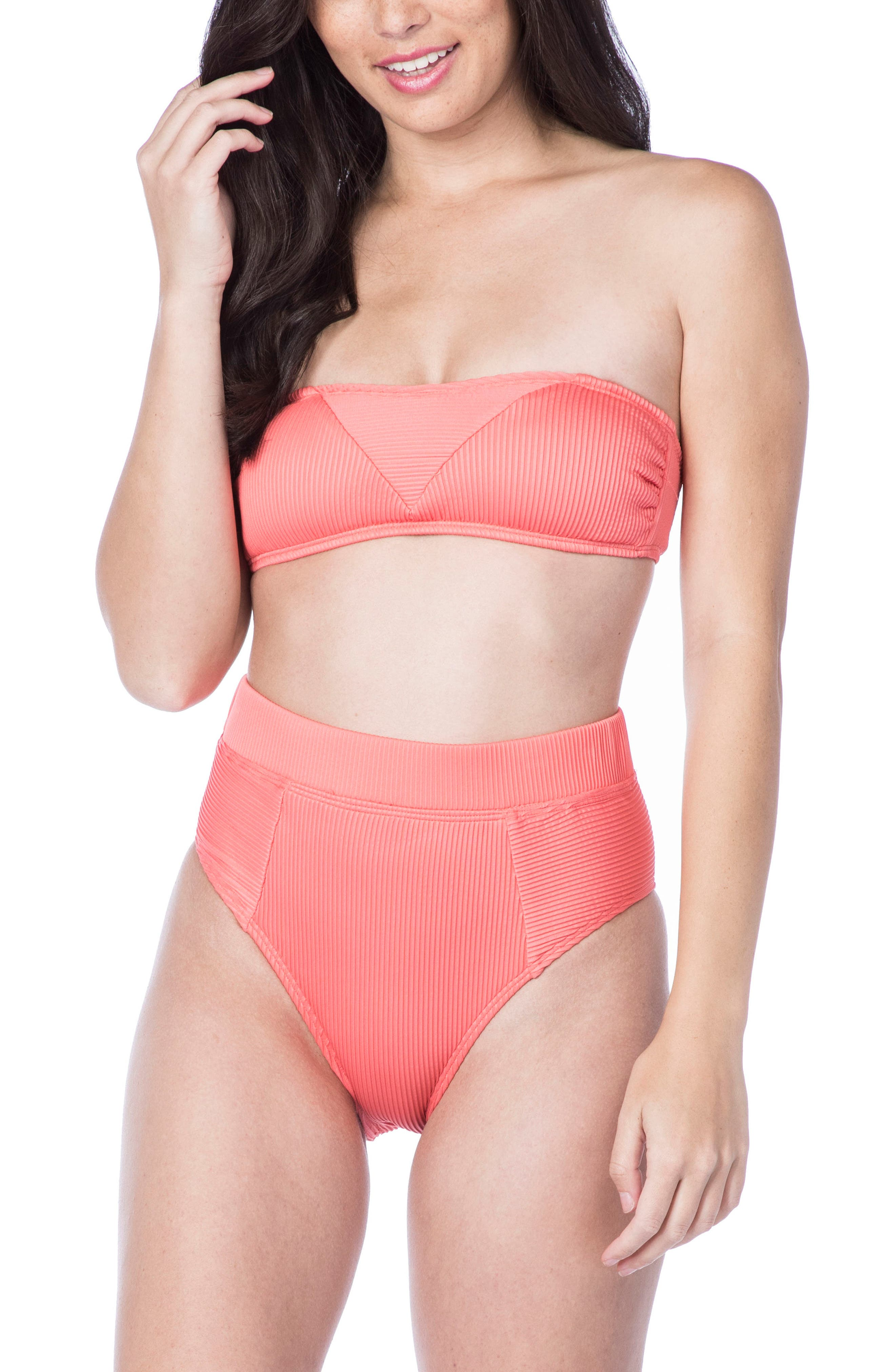 Rib-Thym Bandeau Bikini Top,                             Alternate thumbnail 6, color,