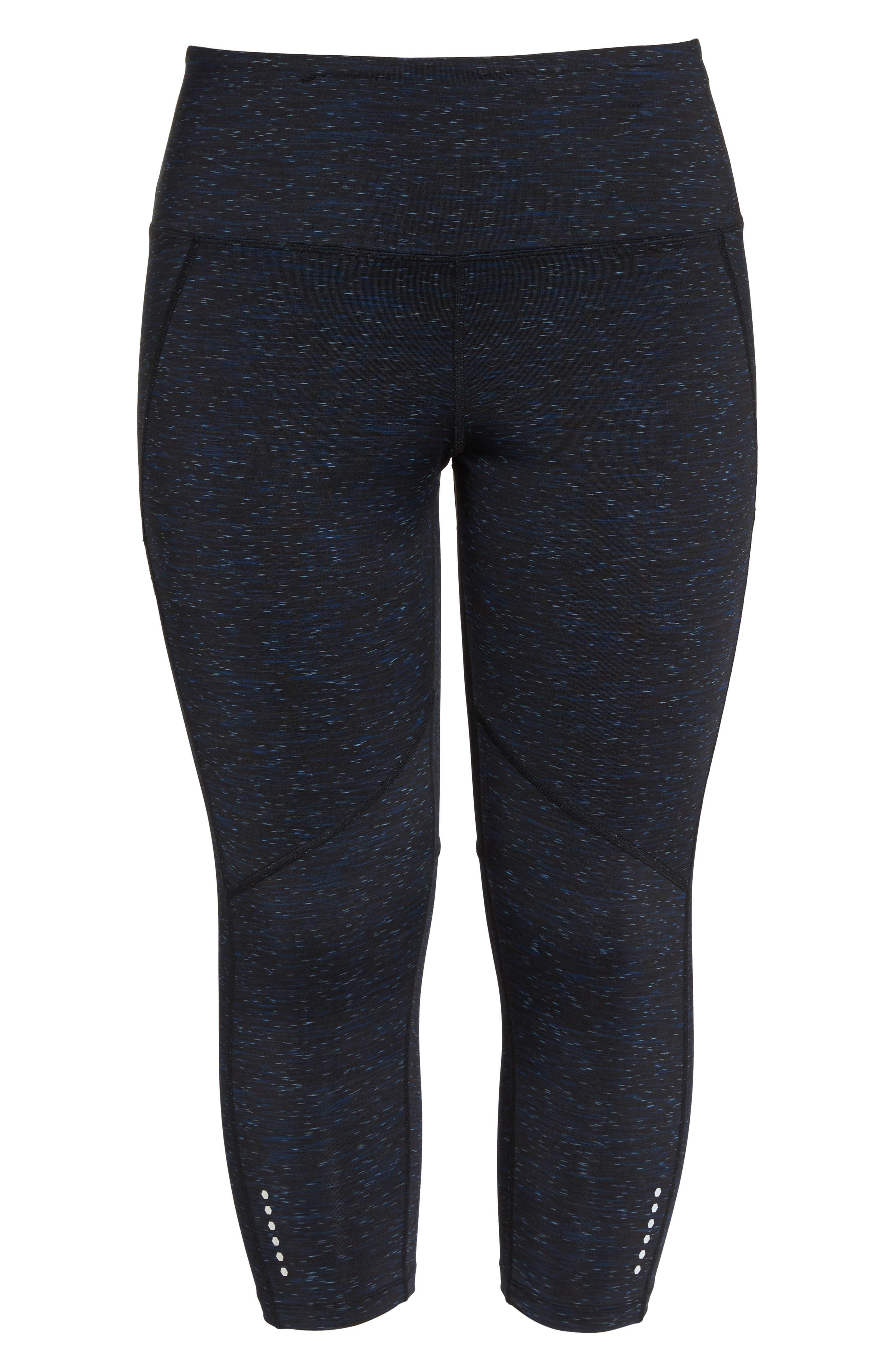 Kendall Energy Capri Leggings,                             Alternate thumbnail 7, color,                             BLACK/BLUE/SILVERLAKE SPACEDYE