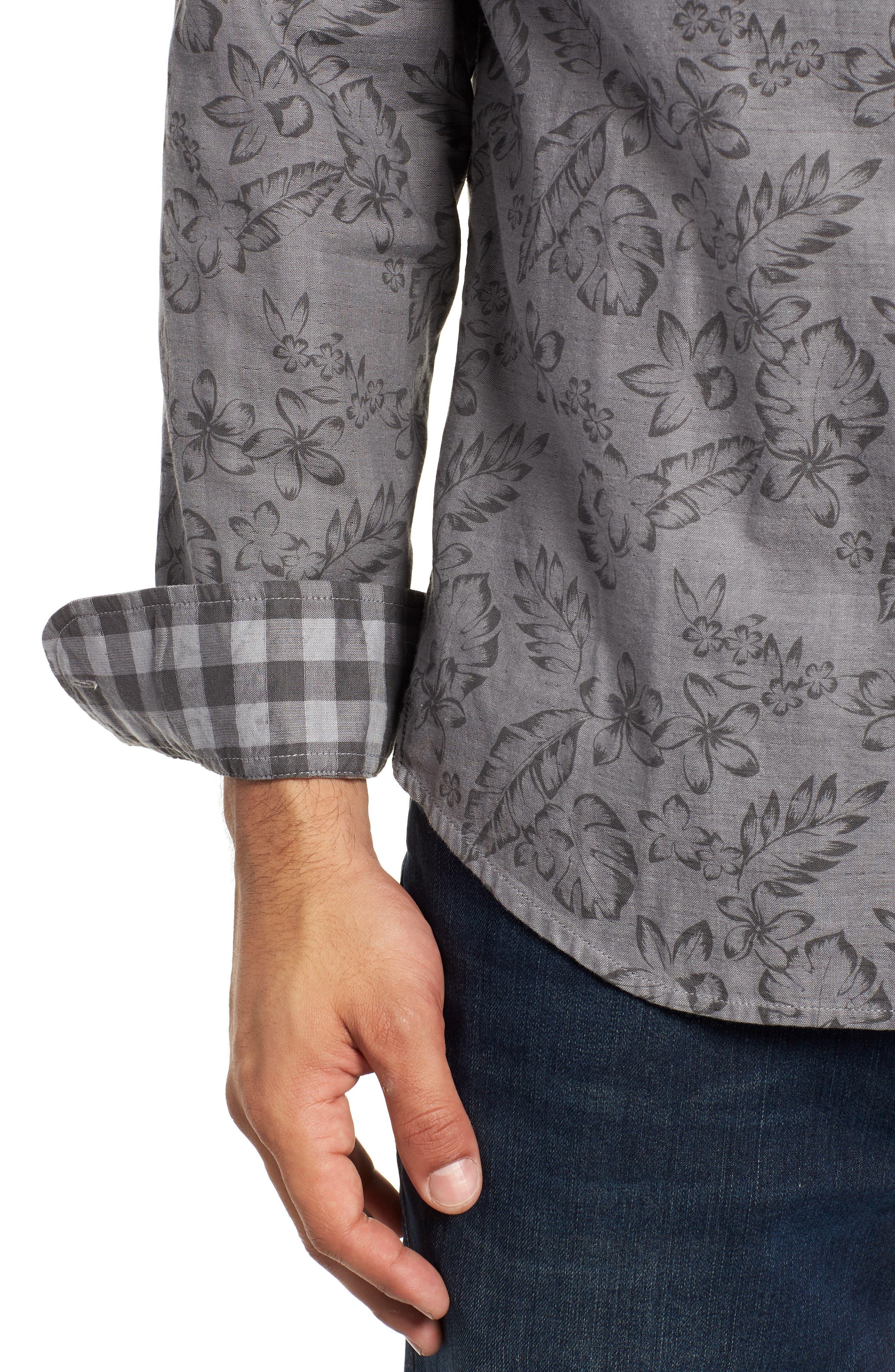 Check Back Regular Fit Tropical Shirt,                             Alternate thumbnail 2, color,                             ARGENT