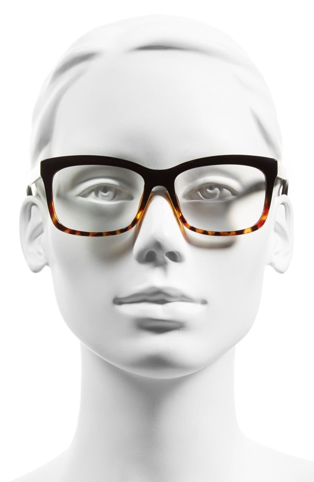 The Brooklyn 53mm Reading Glasses,                             Alternate thumbnail 2, color,                             TORTOISE/ BLACK