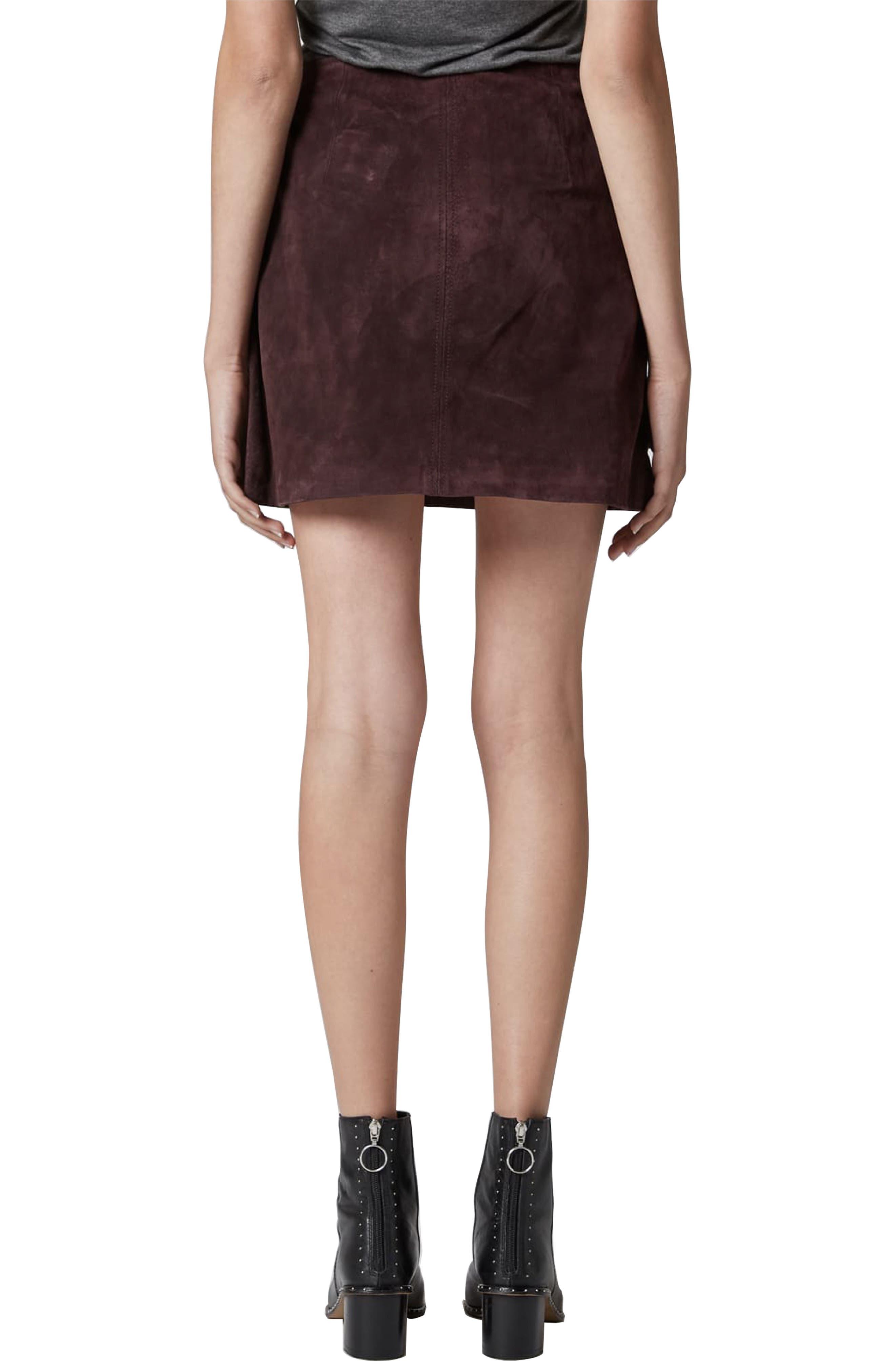 Suede Miniskirt,                             Alternate thumbnail 2, color,                             BLACKBERRY
