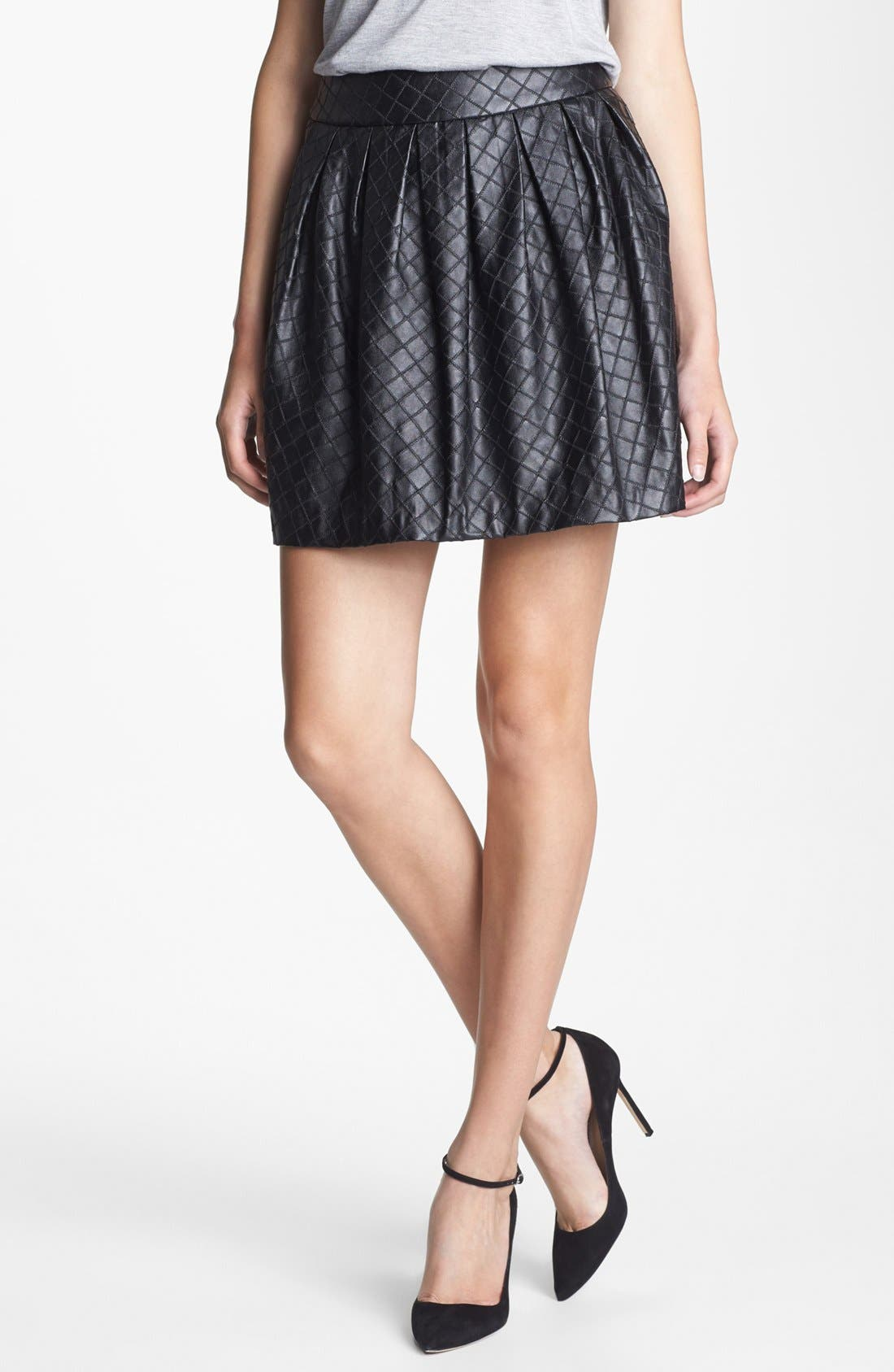 Quilted Faux Leather Skirt, Main, color, 001