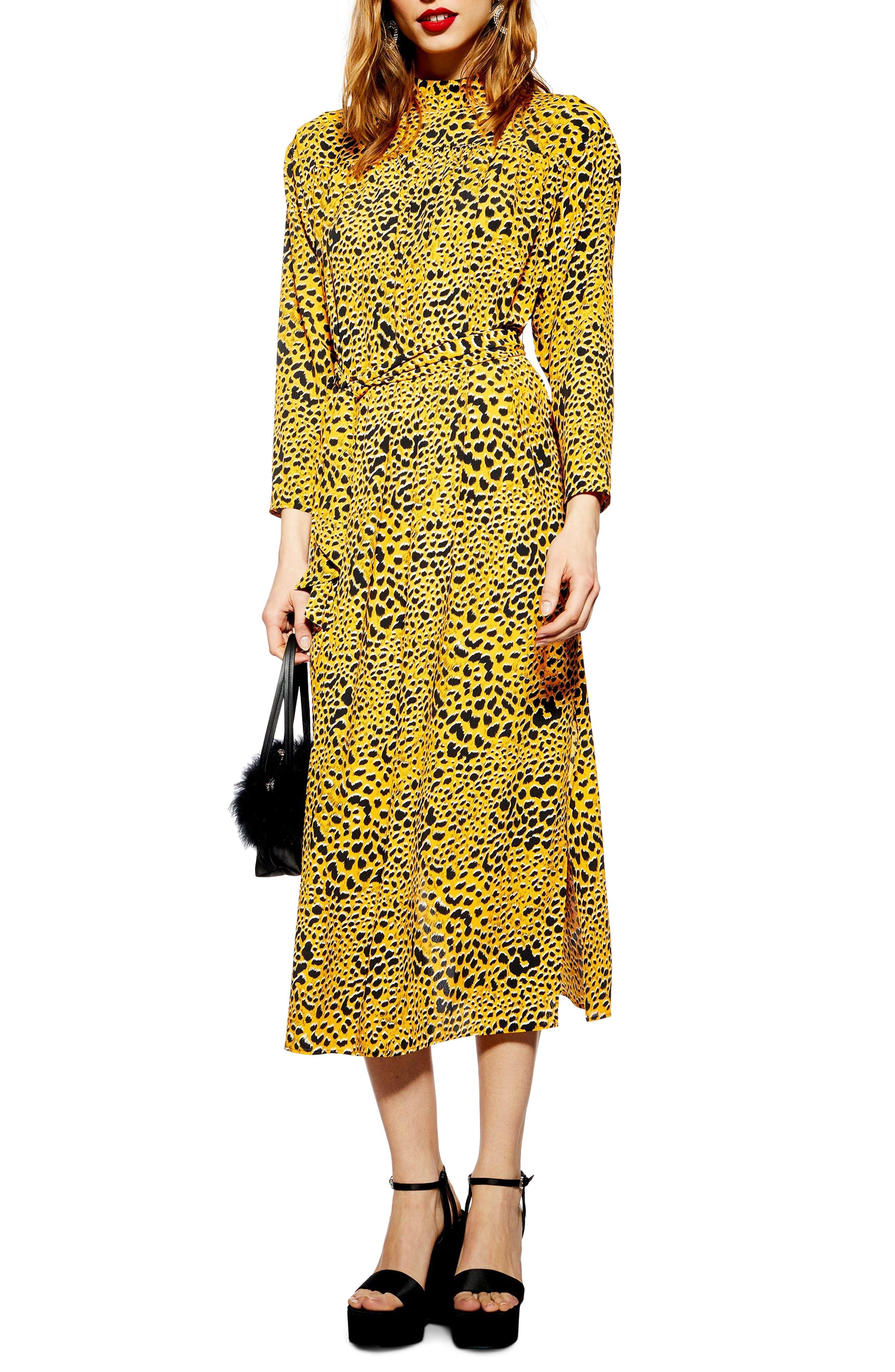 TOPSHOP Abstract Animal Print Midi Dress, Main, color, YELLOW MULTI
