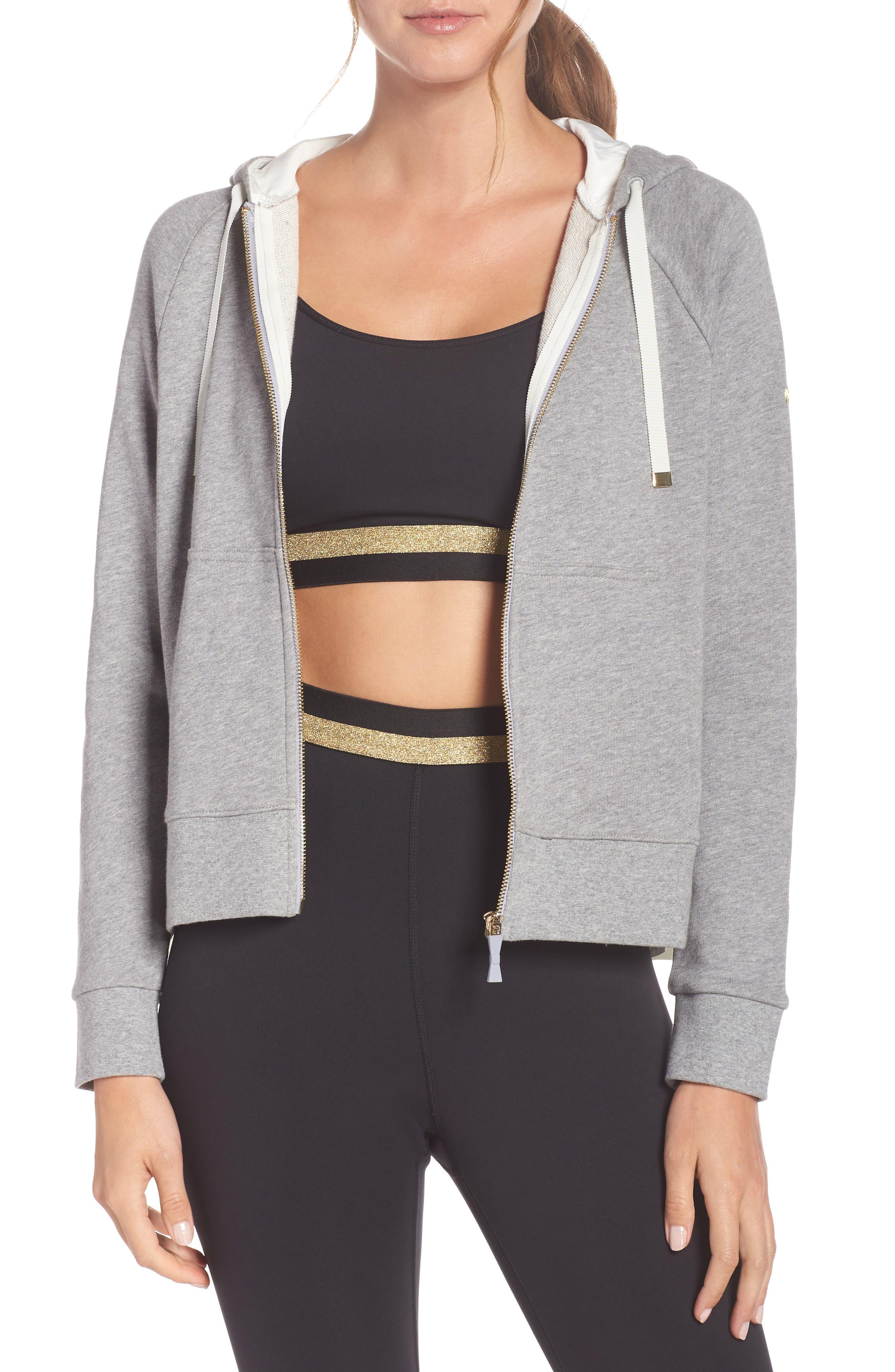 Kate Spade New York Mixed Media Full Zip Sweatshirt, Grey