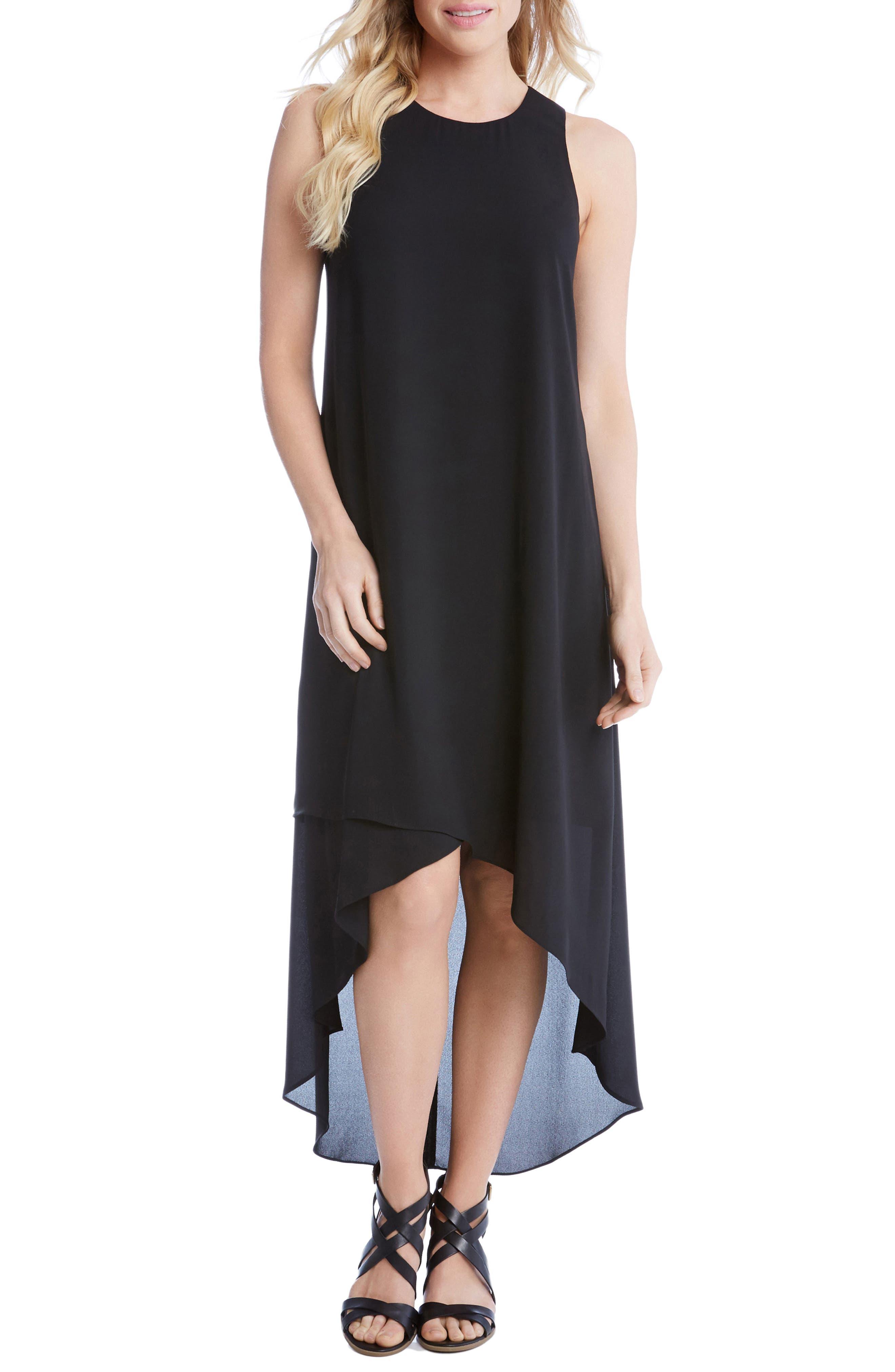High/Low Crepe Dress,                             Main thumbnail 1, color,                             001