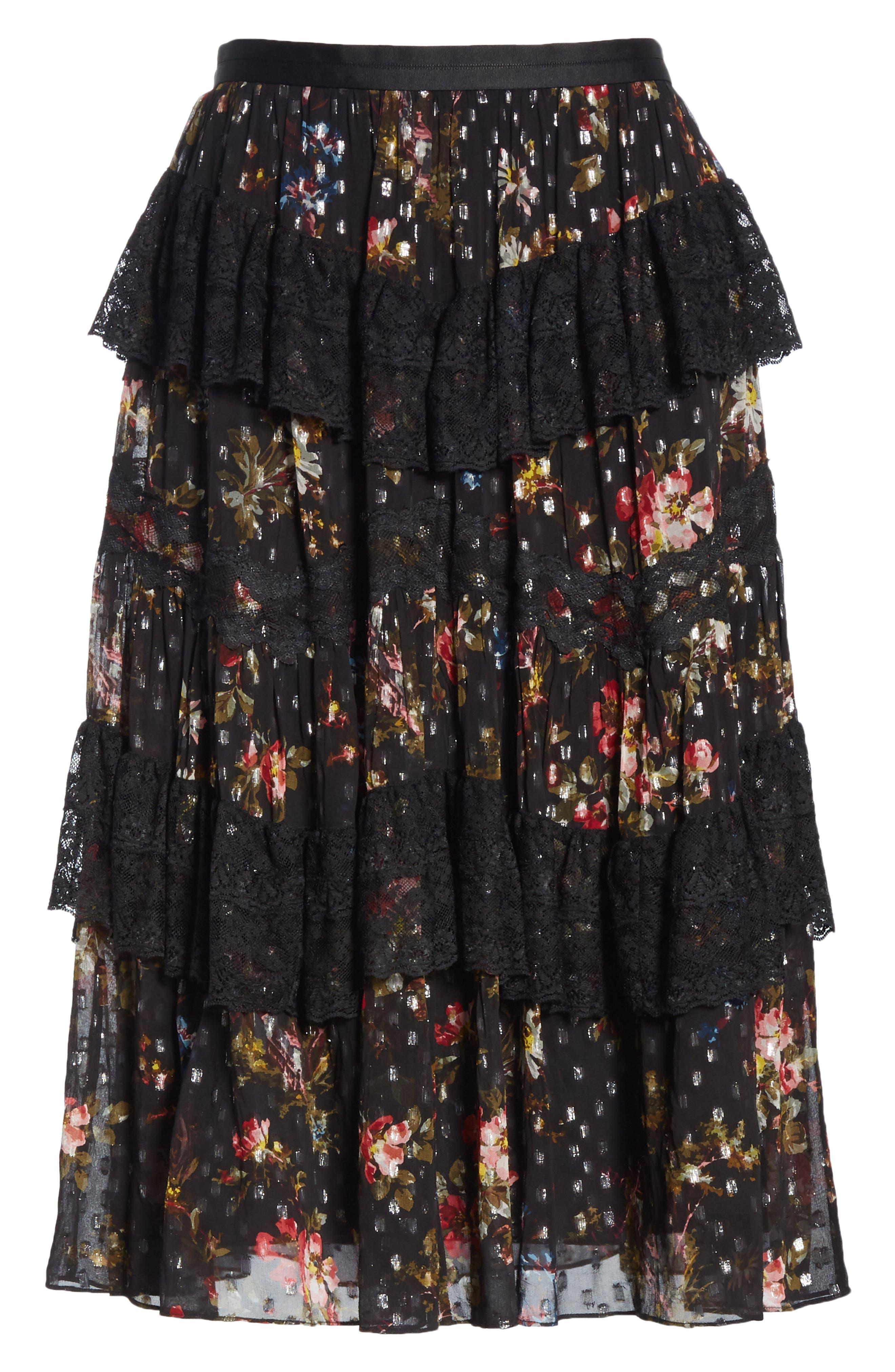 Cosmic Forest Skirt,                             Alternate thumbnail 6, color,                             GRAPHITE