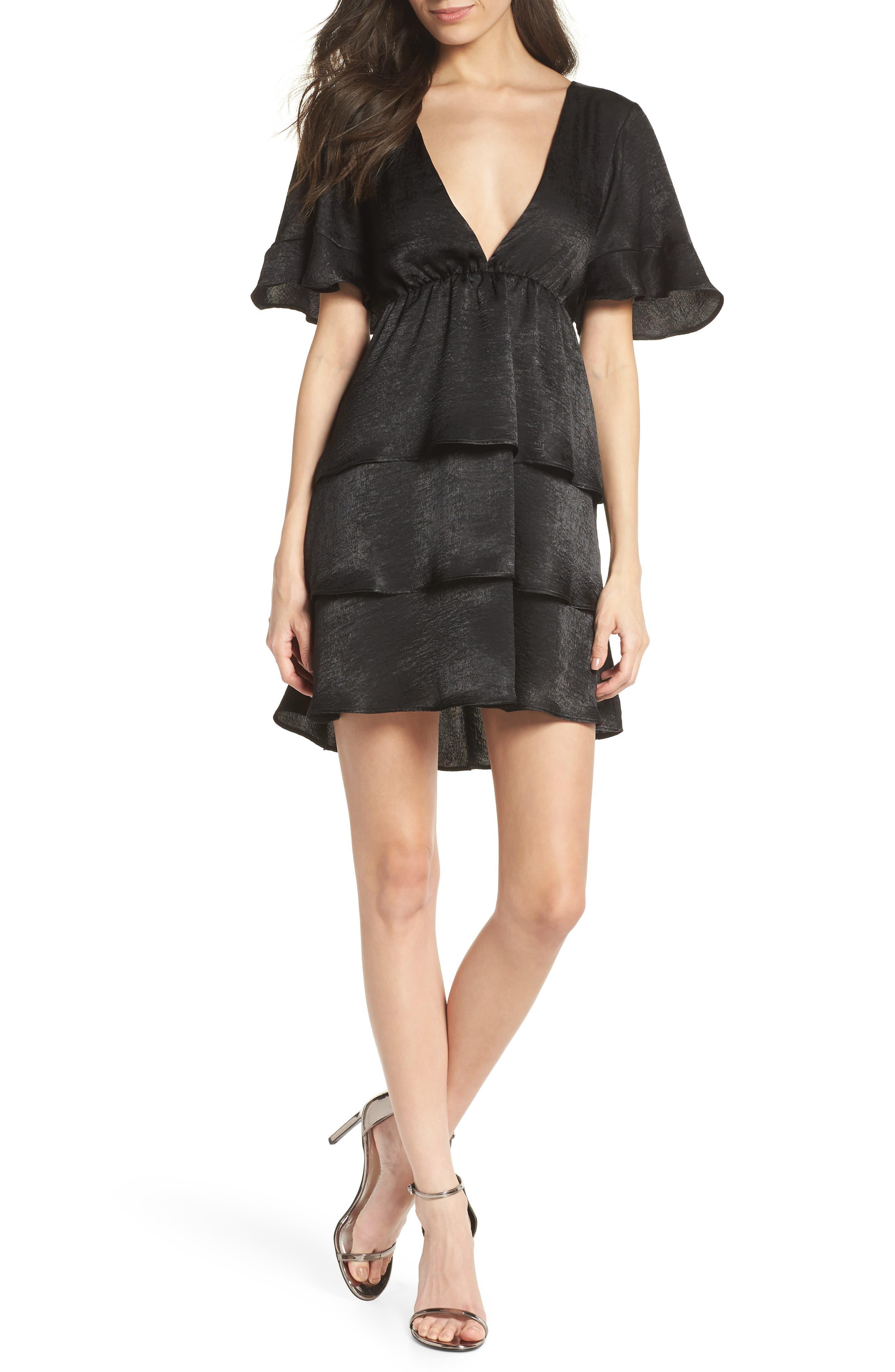 Dulce Minidress,                         Main,                         color, BLACK SHEEN