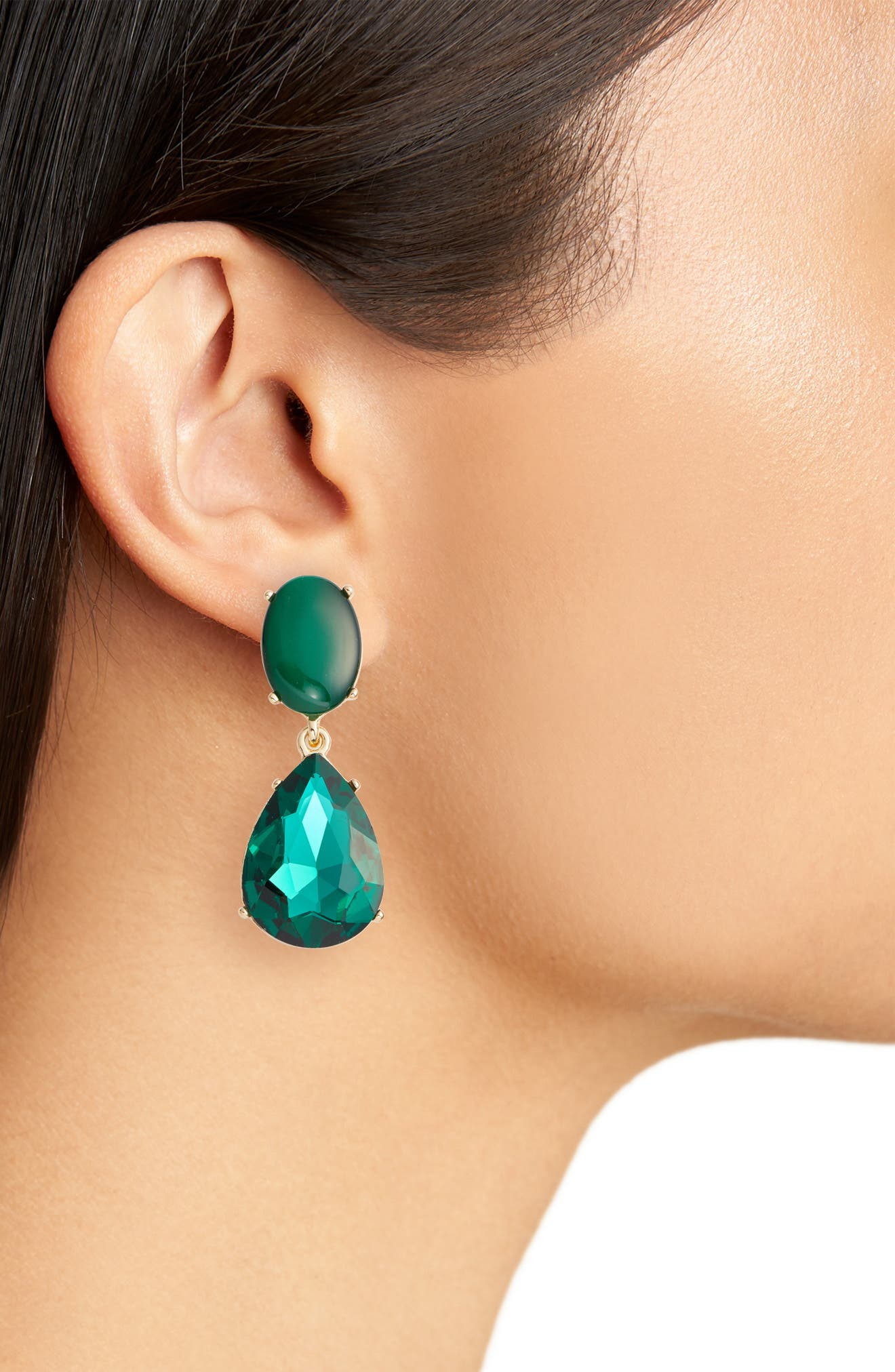 Gemstone Statement Double Drop Earrings,                             Alternate thumbnail 2, color,                             310
