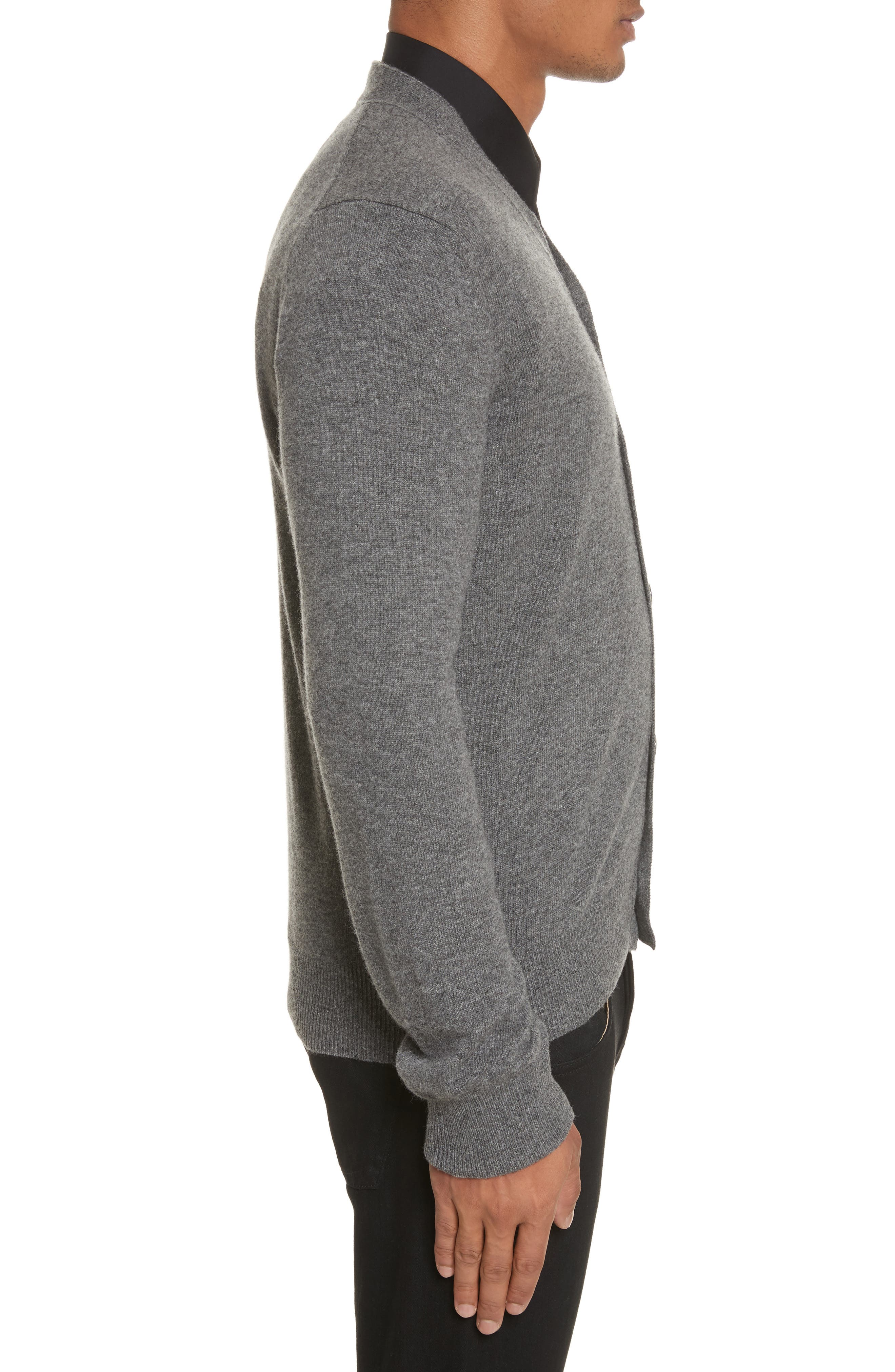 COMME DES GARÇONS PLAY,                             White Heart Wool Cardigan,                             Alternate thumbnail 3, color,                             GREY