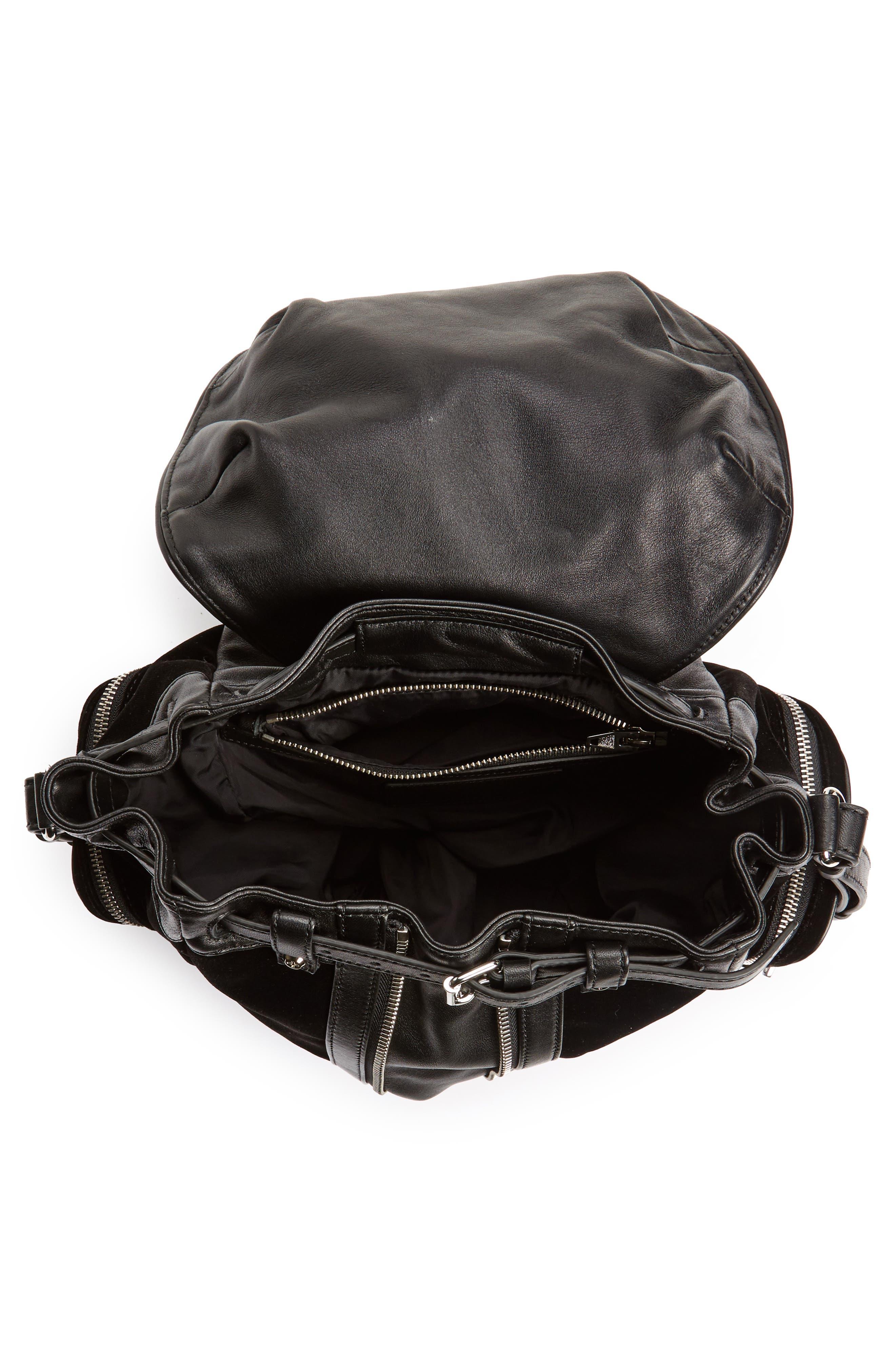 Mini Marti Velvet & Lambskin Leather Backpack,                             Alternate thumbnail 4, color,                             001