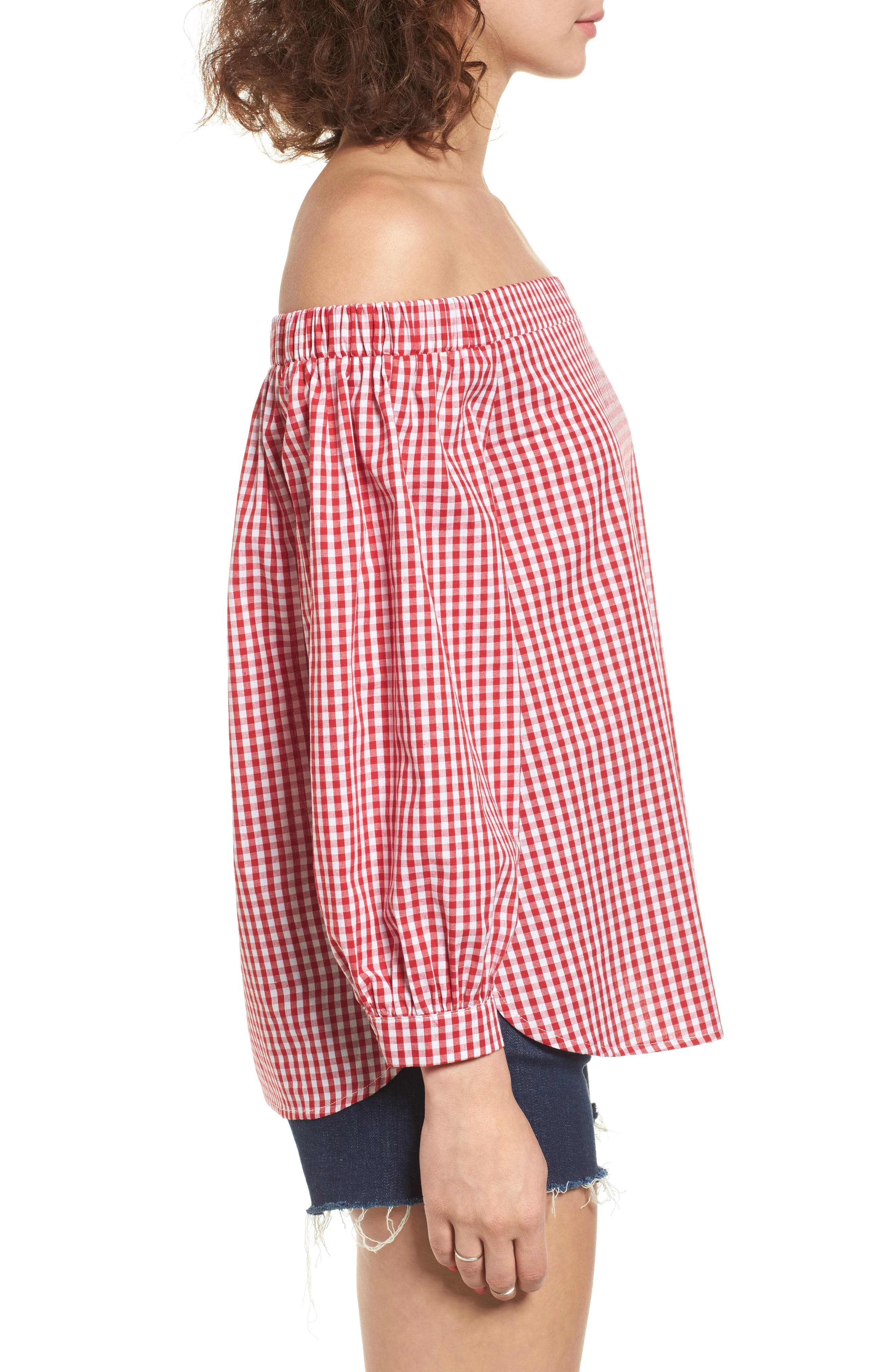 SOPRANO,                             Gingham Off the Shoulder Bubble Sleeve Top,                             Alternate thumbnail 3, color,                             600