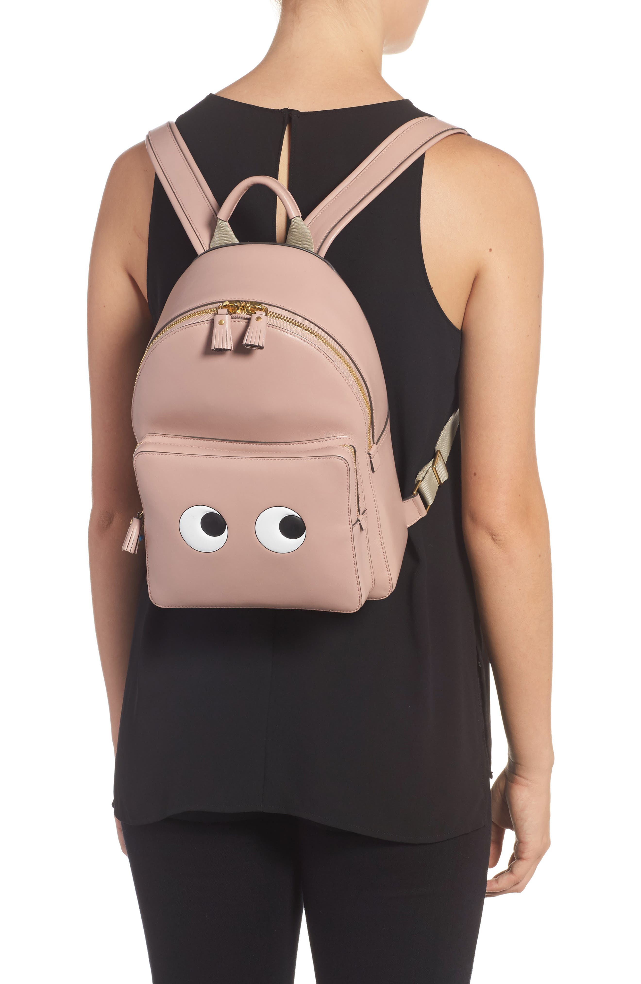ANYA HINDMARCH,                             Eyes Mini Leather Backpack,                             Alternate thumbnail 2, color,                             650
