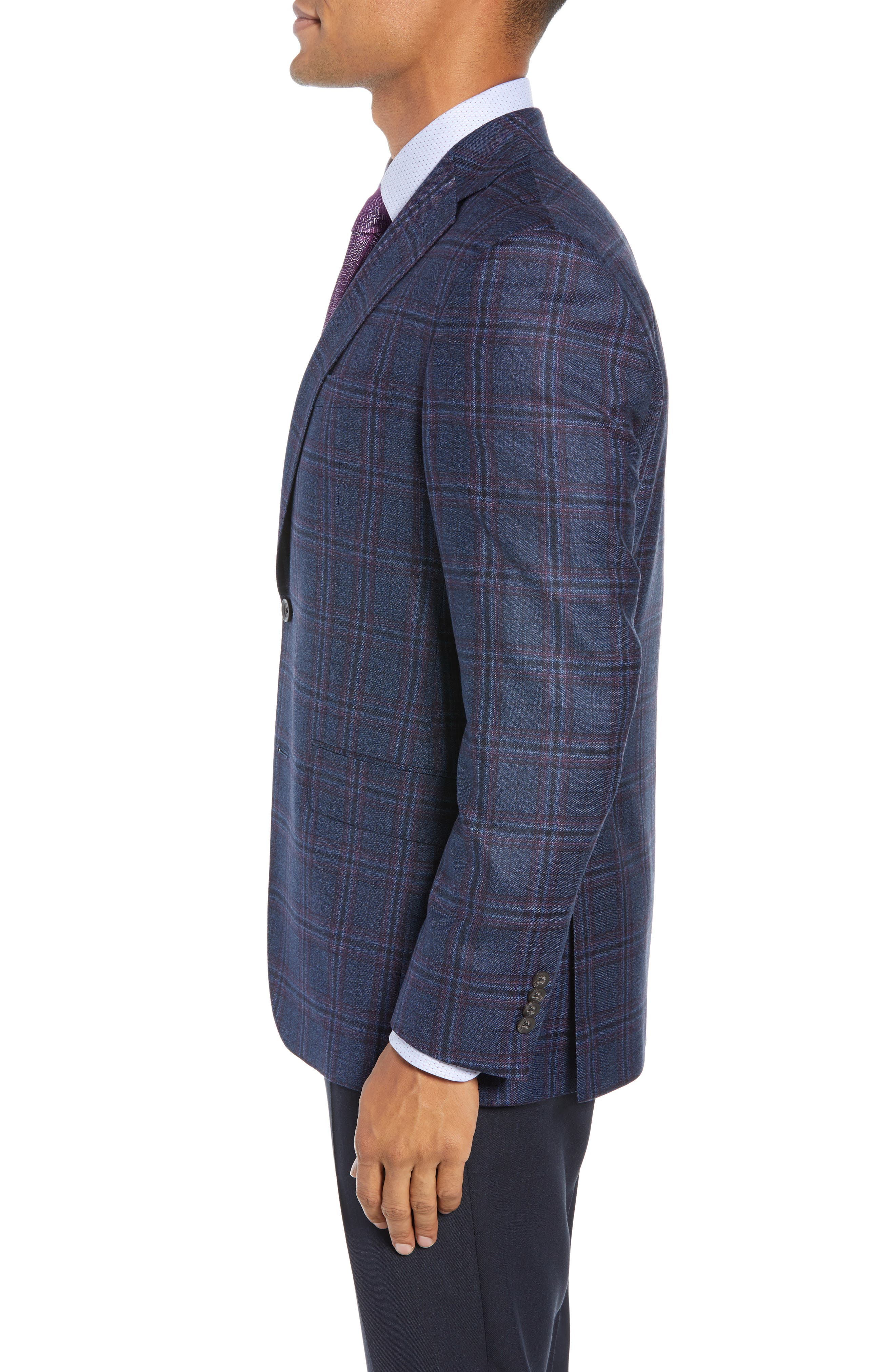 Connor Classic Fit Plaid Wool Sport Coat,                             Alternate thumbnail 3, color,                             400