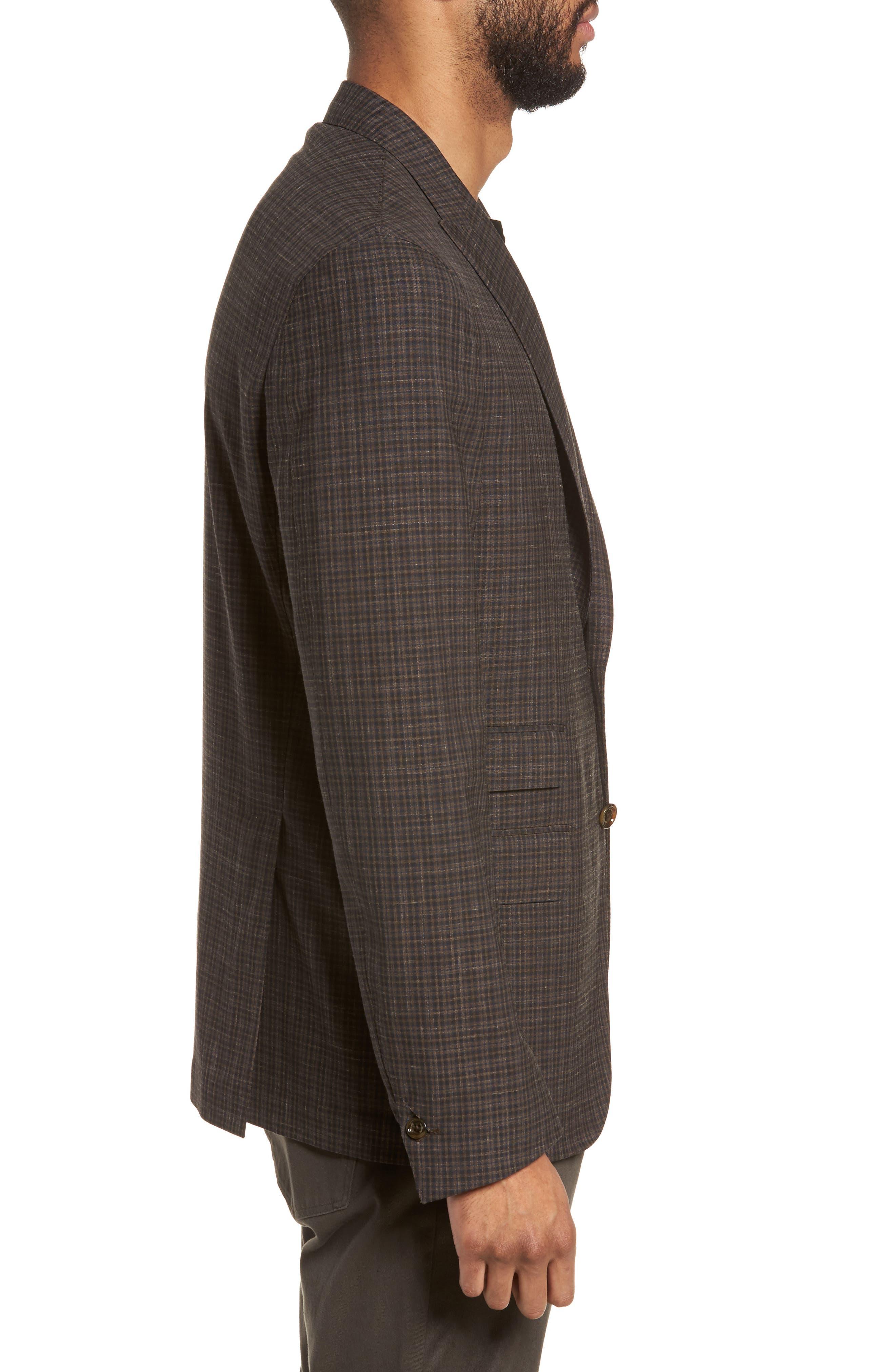 Trim Fit Check Wool & Linen Sport Coat,                             Alternate thumbnail 3, color,                             201