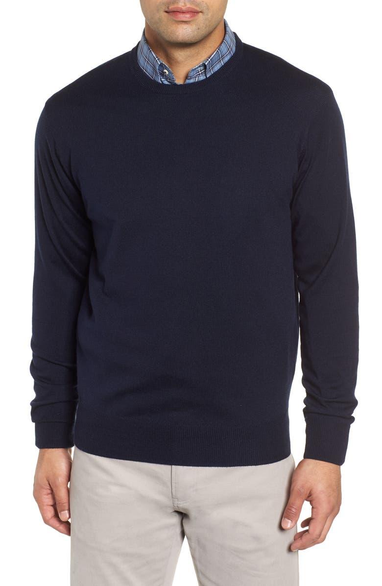 0d516a7a3 Peter Millar Men S Crown Soft Wool Silk Crewneck Sweater In Navy ...