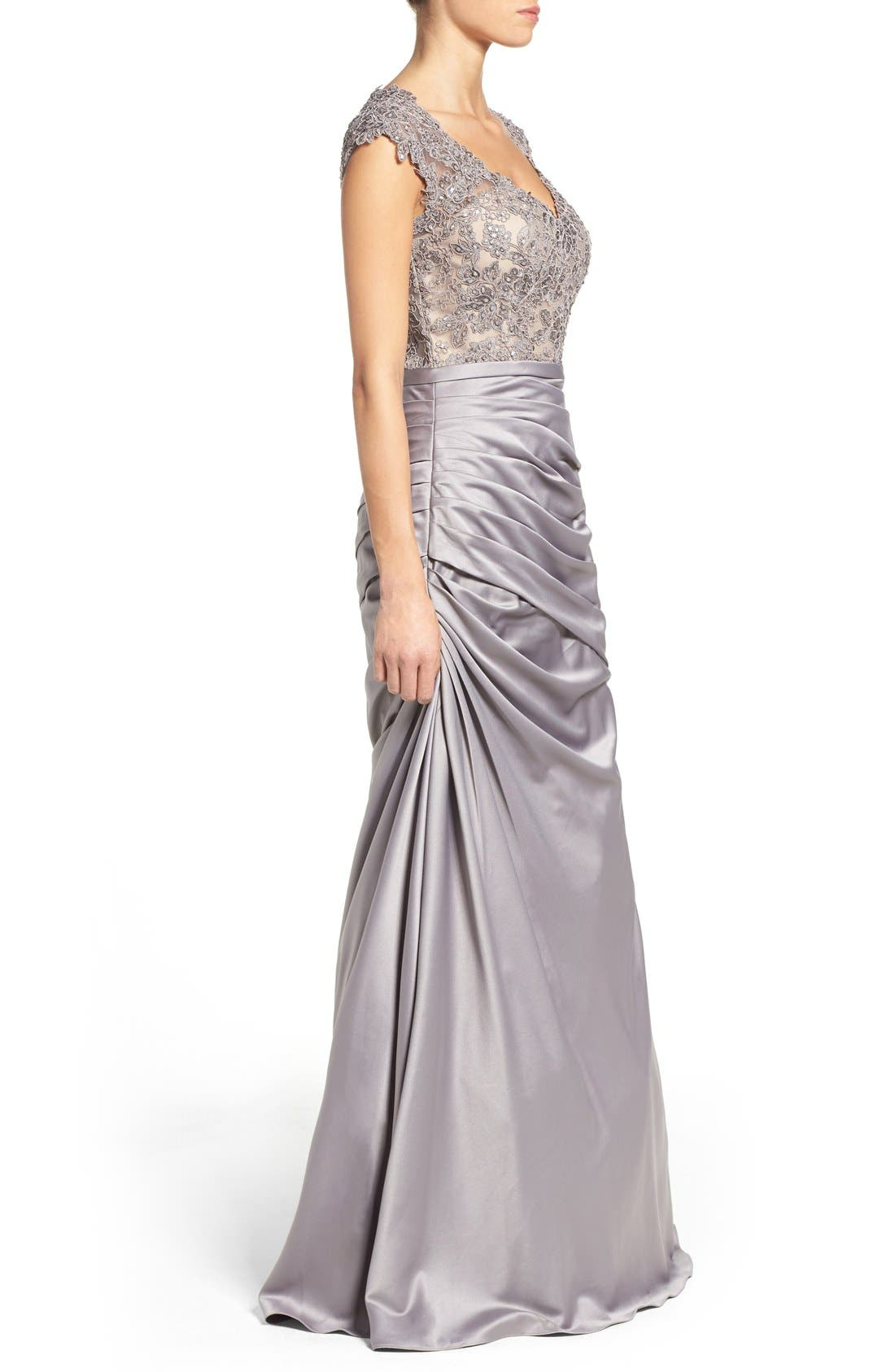 Embellished Lace & Satin Mermaid Gown,                             Alternate thumbnail 2, color,                             SILVER